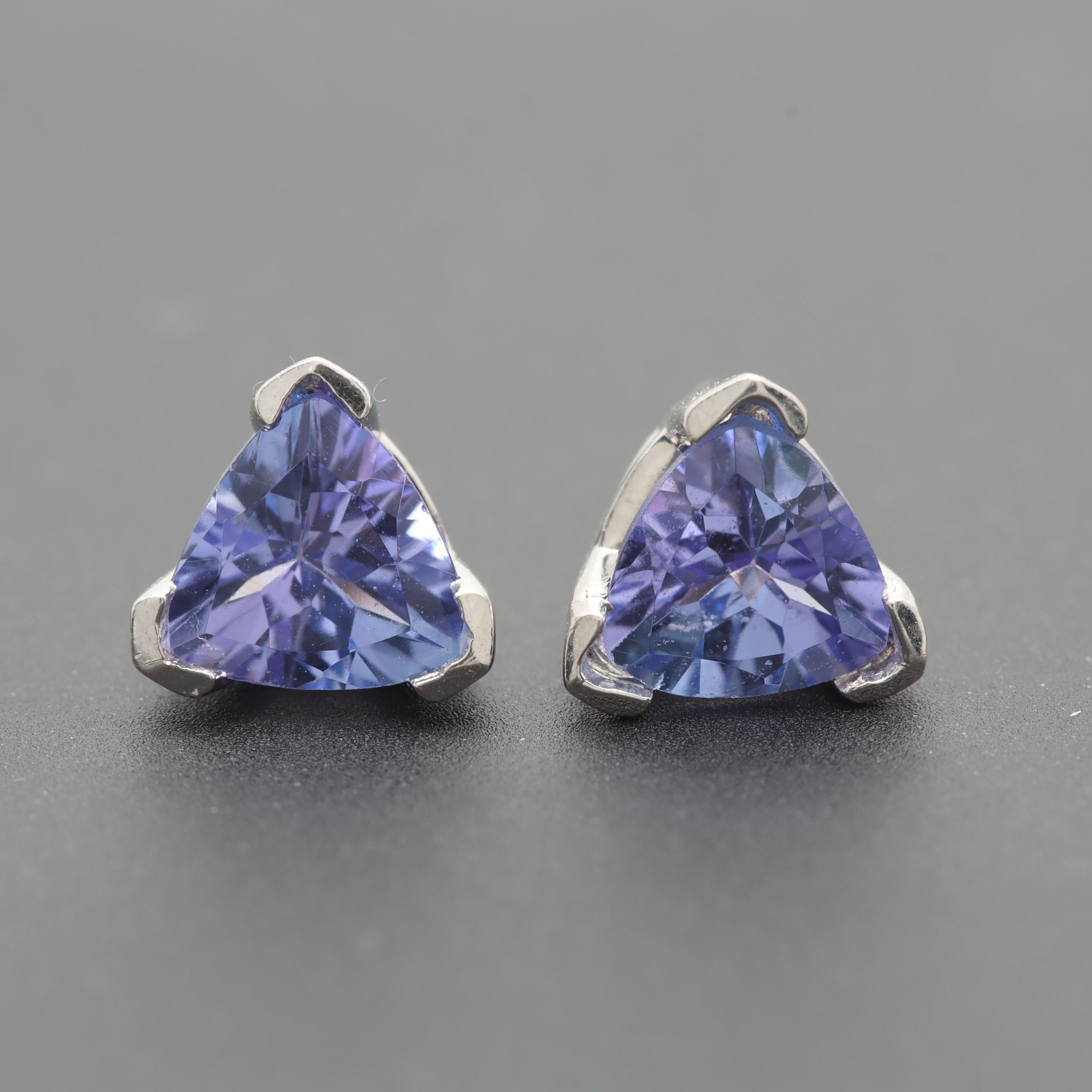 14K White Gold Tanzanite Stud Earrings