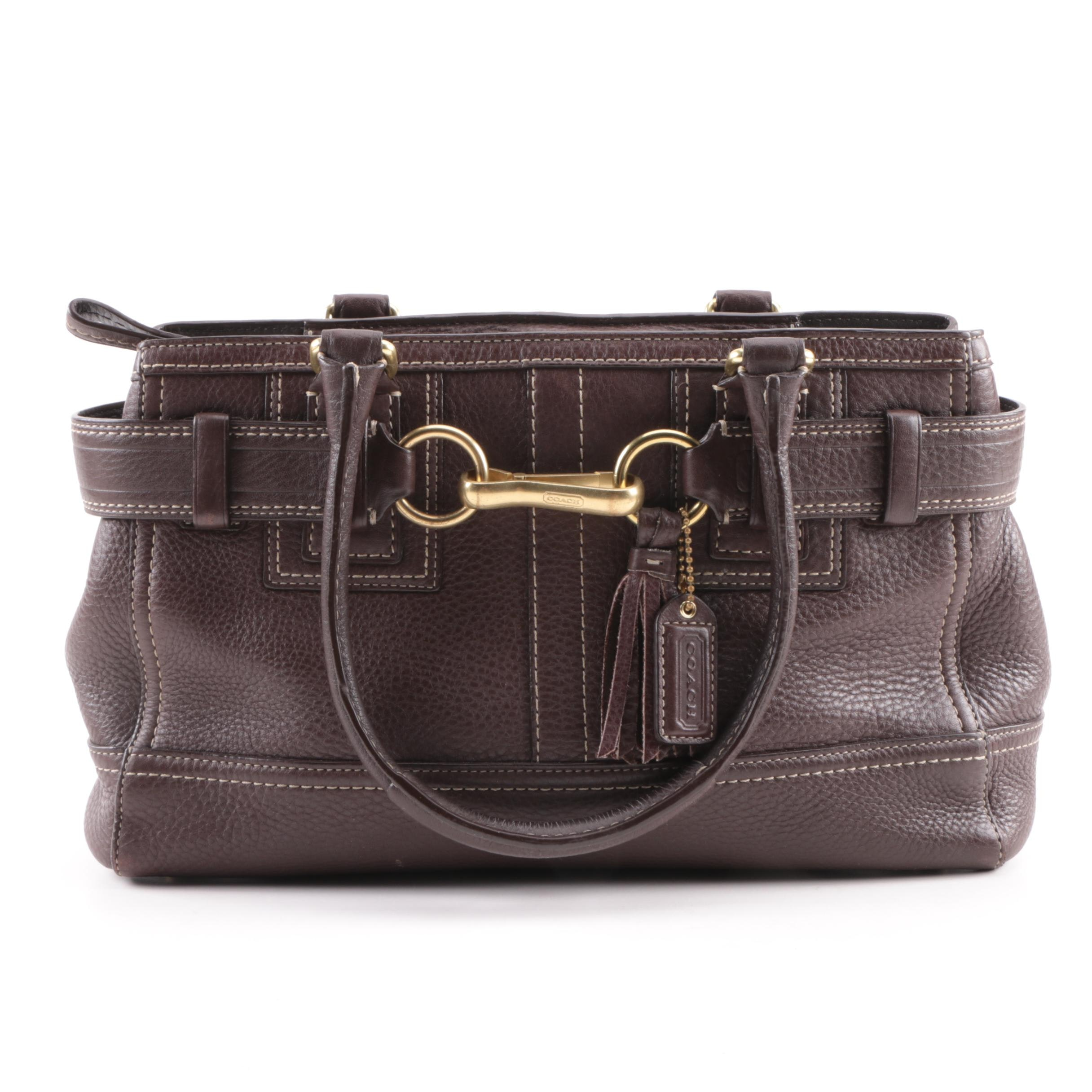Coach Hamptons Dark Brown Pebbled Leather Shoulder Bag