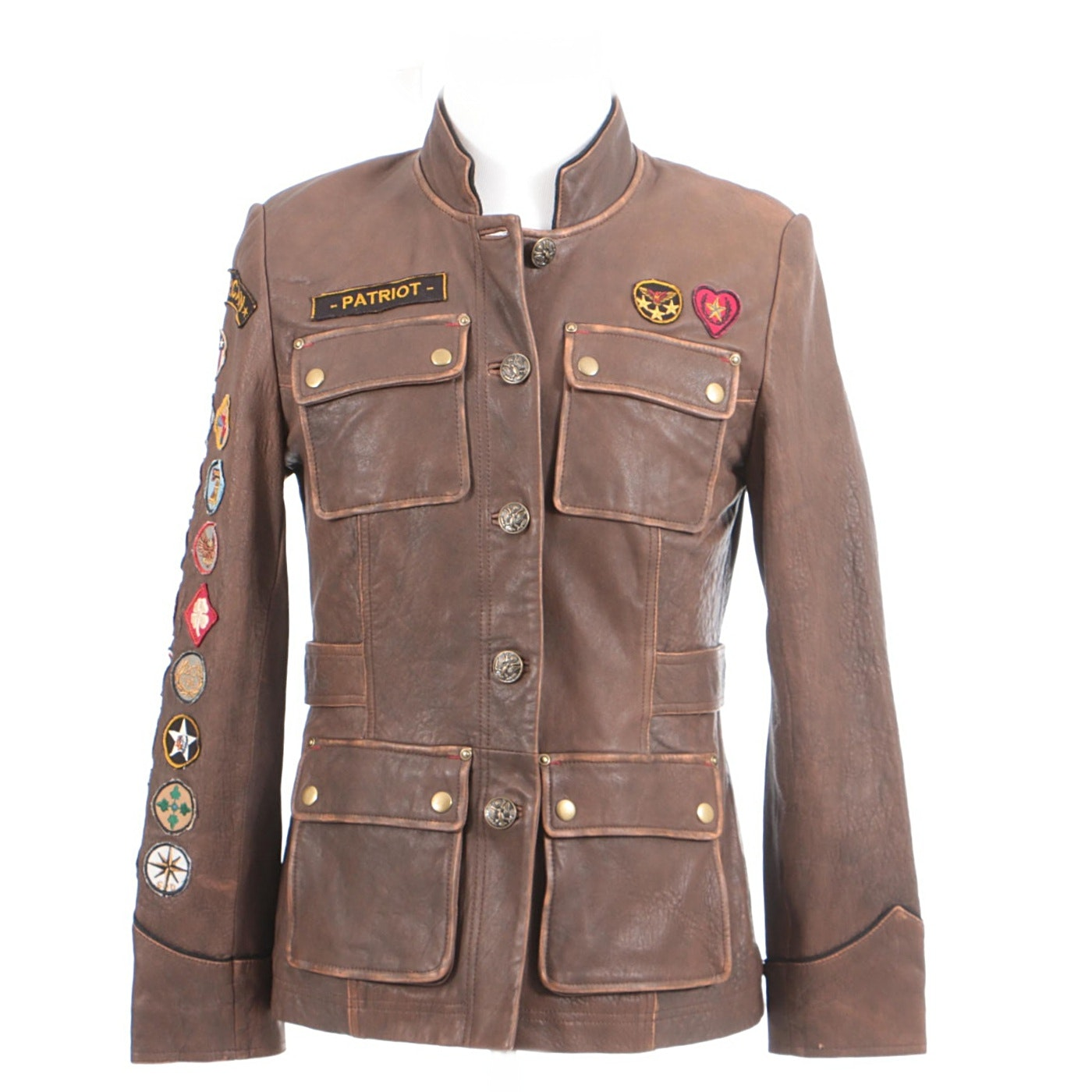 Circa 2009 Double D Ranch of Yoakum, Texas Patriot Brown Leather Jacket