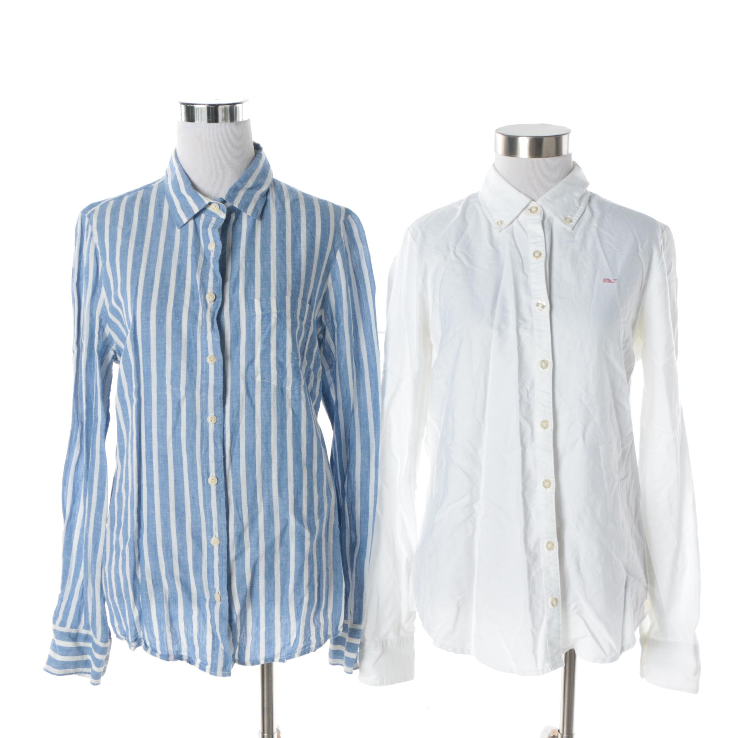Women's J. Crew Striped Linen Blend and Vineyard Vines White Cotton Button-Downs