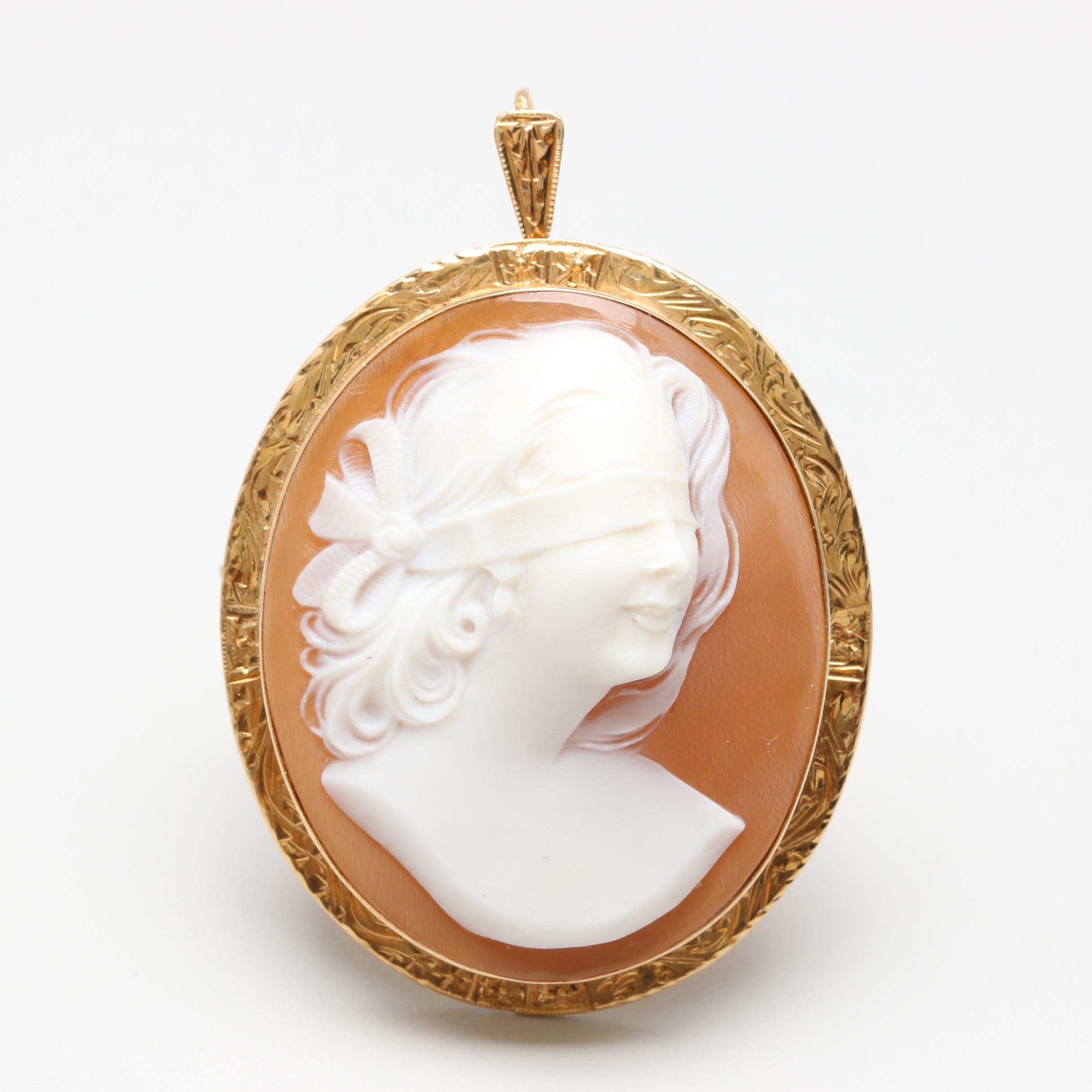 18K Yellow Gold Carved Shell Lady Justice Cameo Converter Brooch