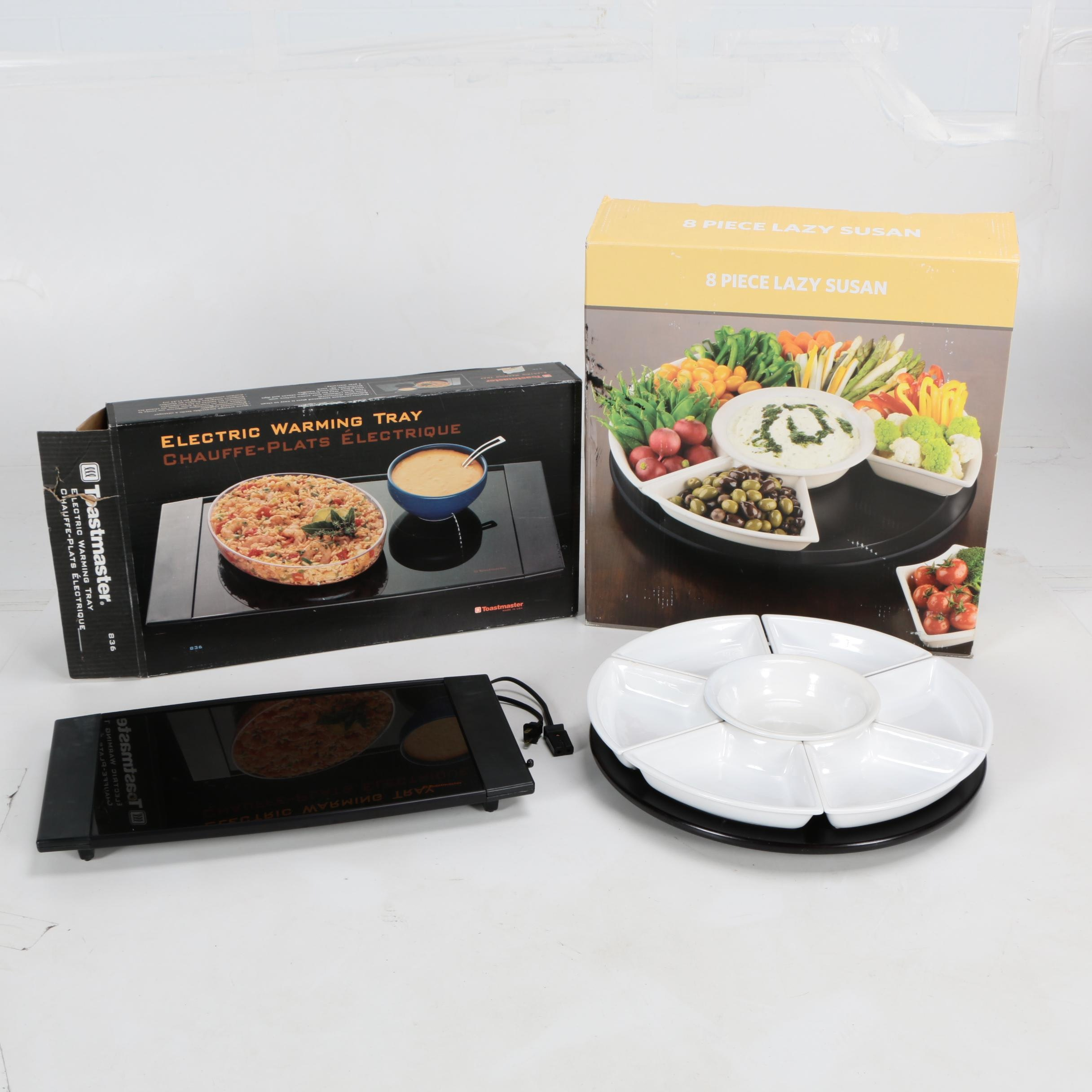 Toastmaster Electric Warming Tray and Ceramic Lazy Susan Serving Set