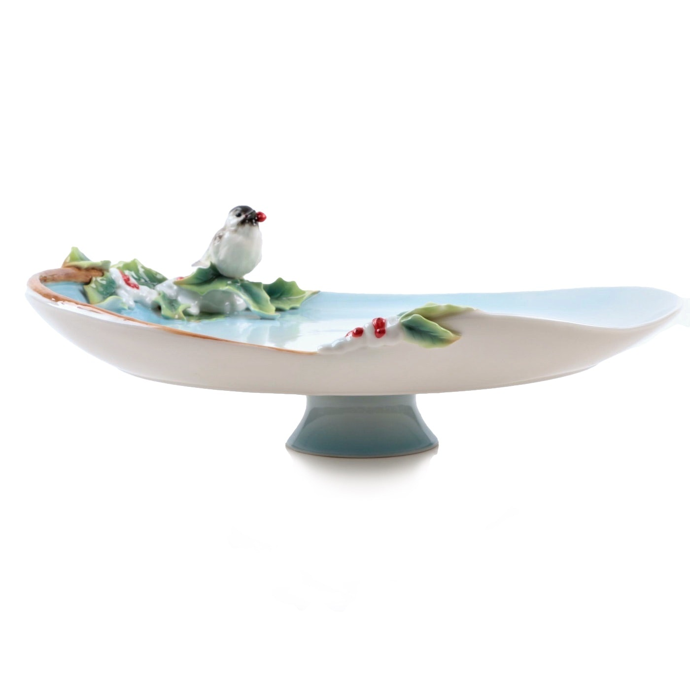 """Franz Chinese """"Holiday Beginning"""" Porcelain Cake Stand"""