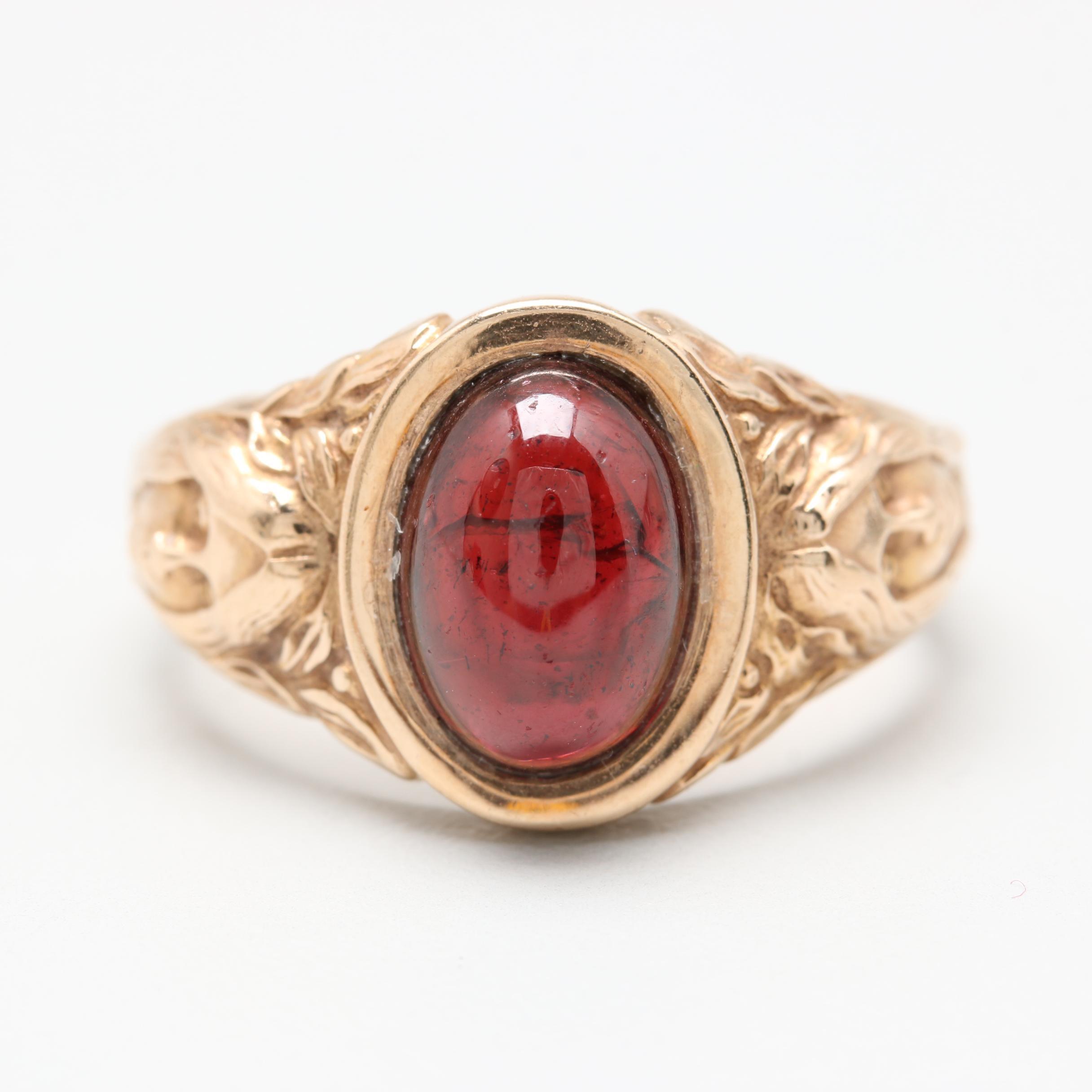 Art Nouveau Style 10K Yellow Gold Garnet Ring