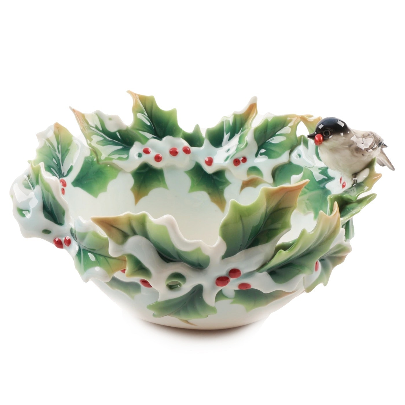 """Franz Porcelain """"Holiday Beginnings"""" Chickadee and Holly Bowl"""
