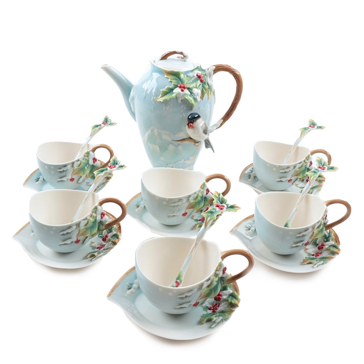 "Franz Porcelain ""Holiday Beginnings"" Coffee Pot, Cups, Saucers and Spoons"