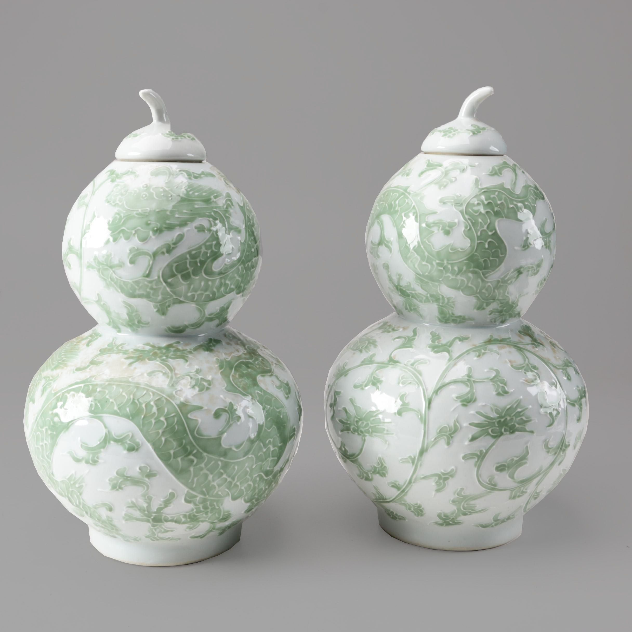 Chinese Double Gourd Lidded Jars with Dragon Motifs
