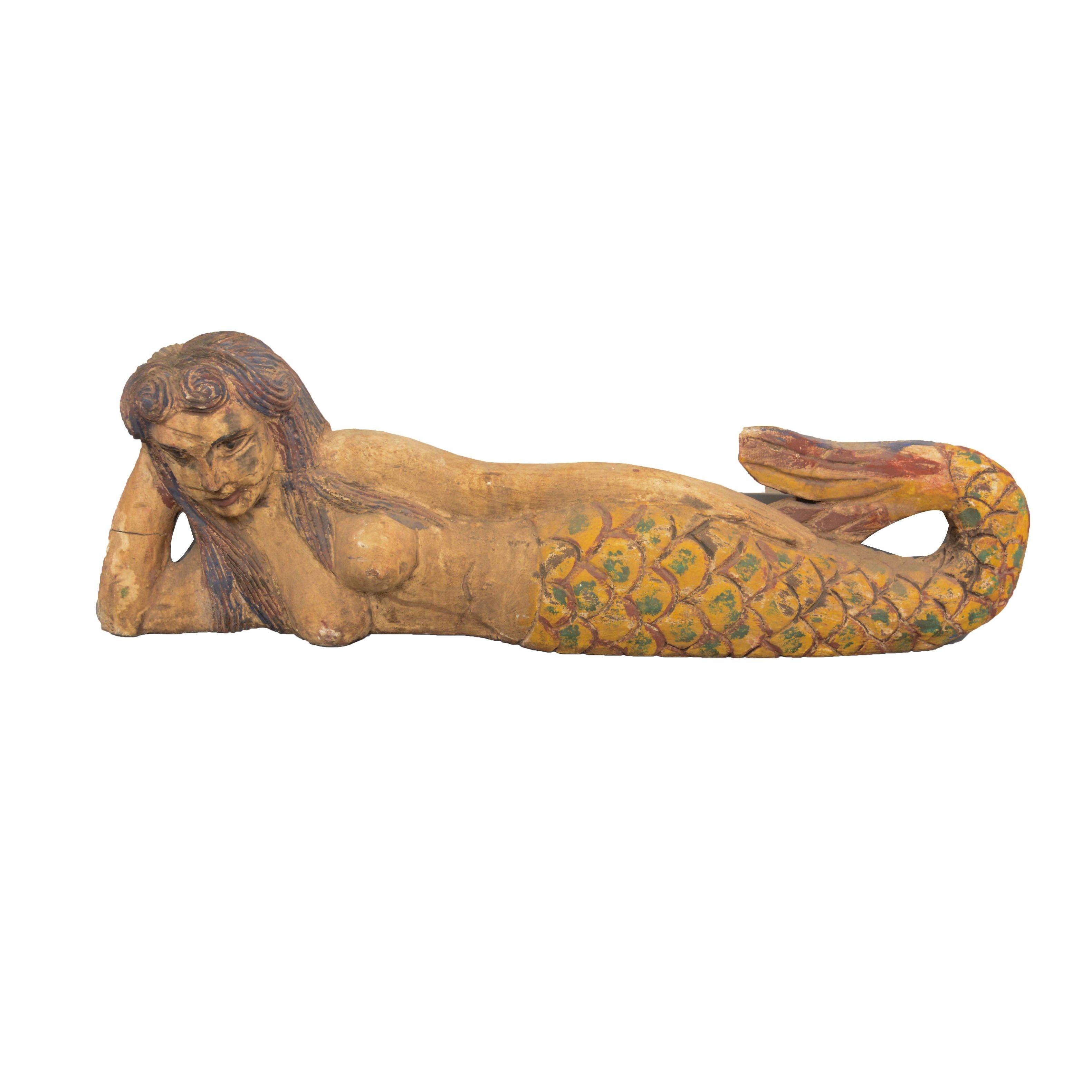 Carved Folk Art-Style Mermaid Sculpture