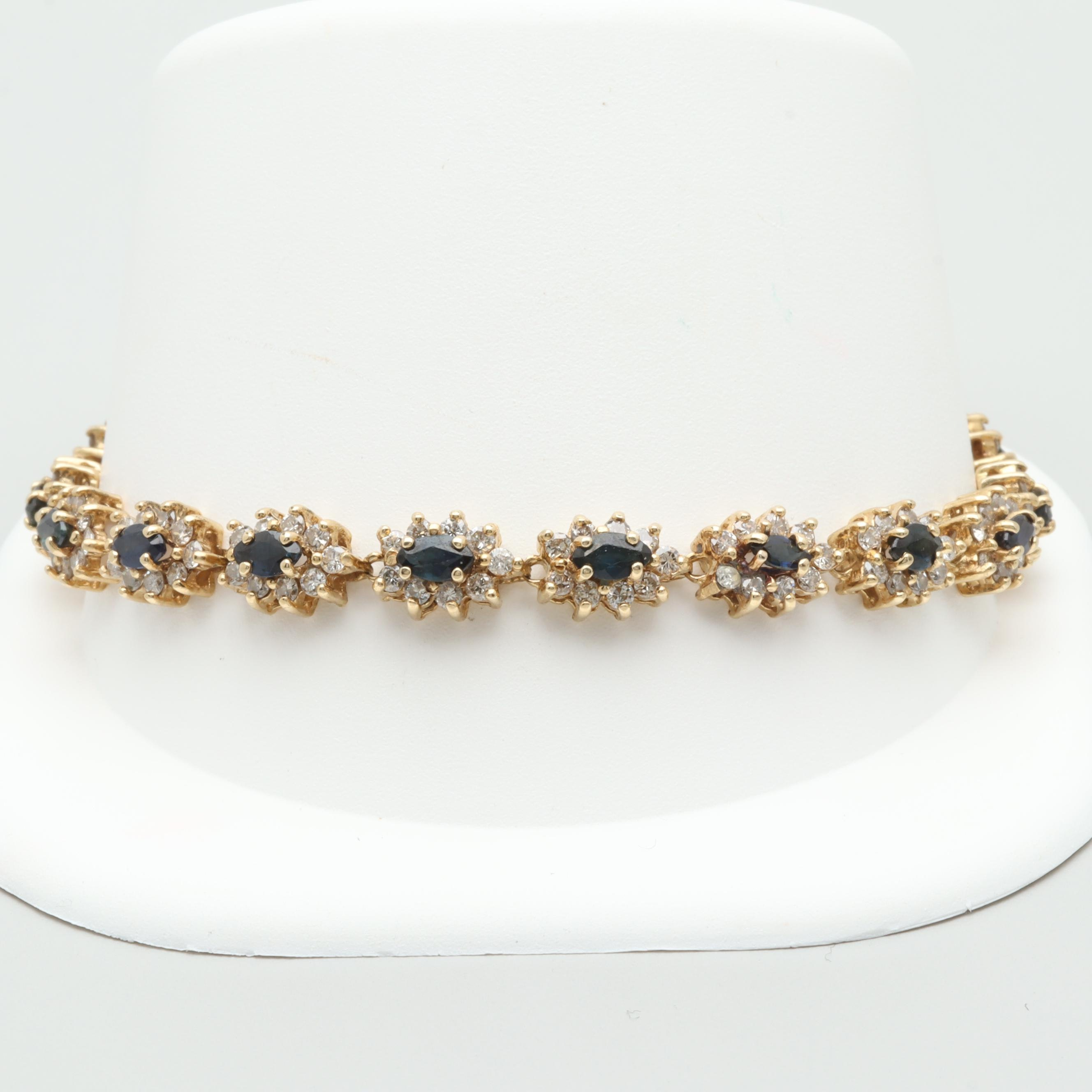 14K Yellow Gold Blue Sapphire and 4.00 CTW Diamond Bracelet