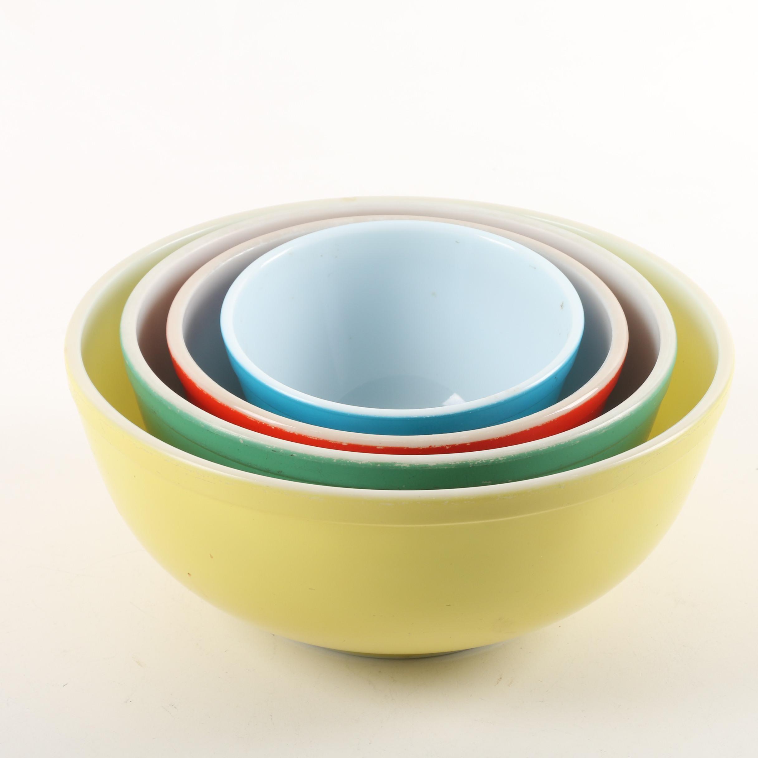 "Vintage Pyrex ""Primary Colors"" Nesting Bowls Circa 1945-1949"
