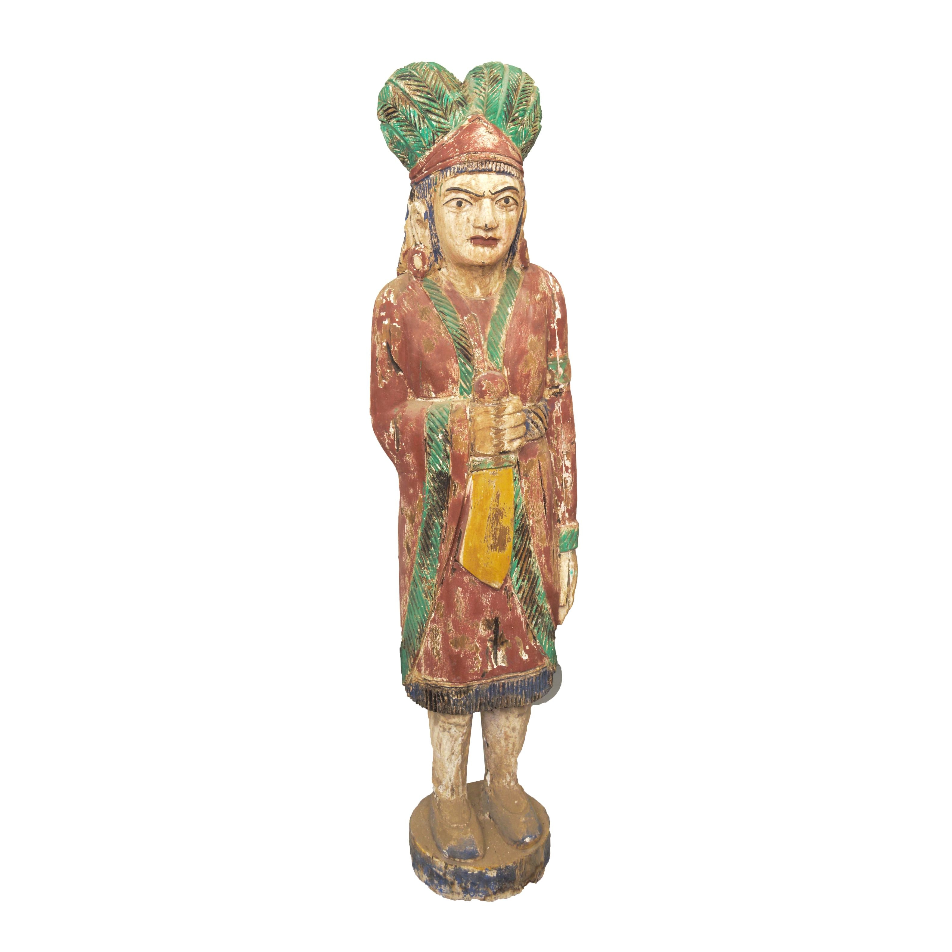 Meso-American Style Carved and Painted Wood Statue