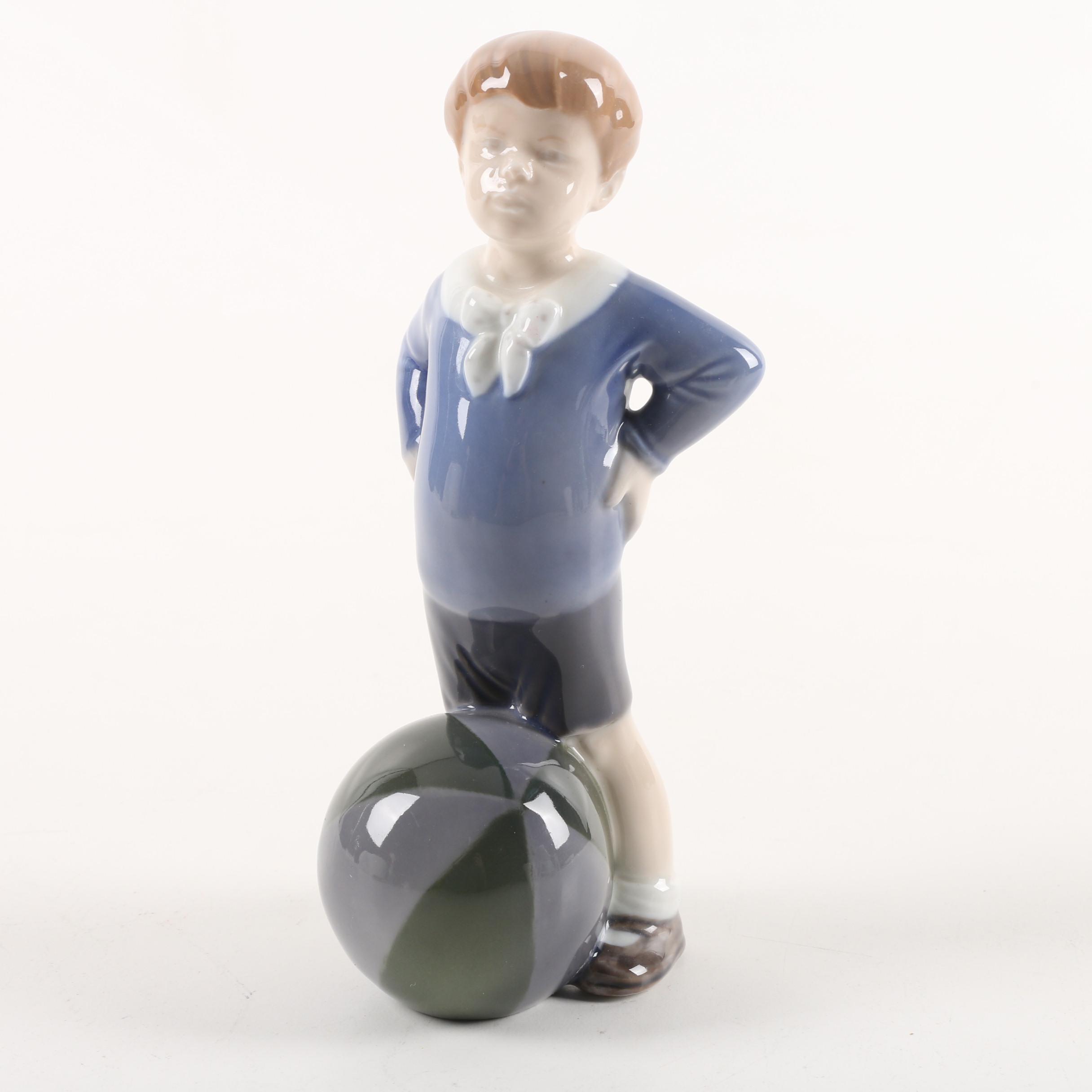 "Royal Copenhagen ""Boy with Ball"" Figurine Designed by Aage Erhardt"