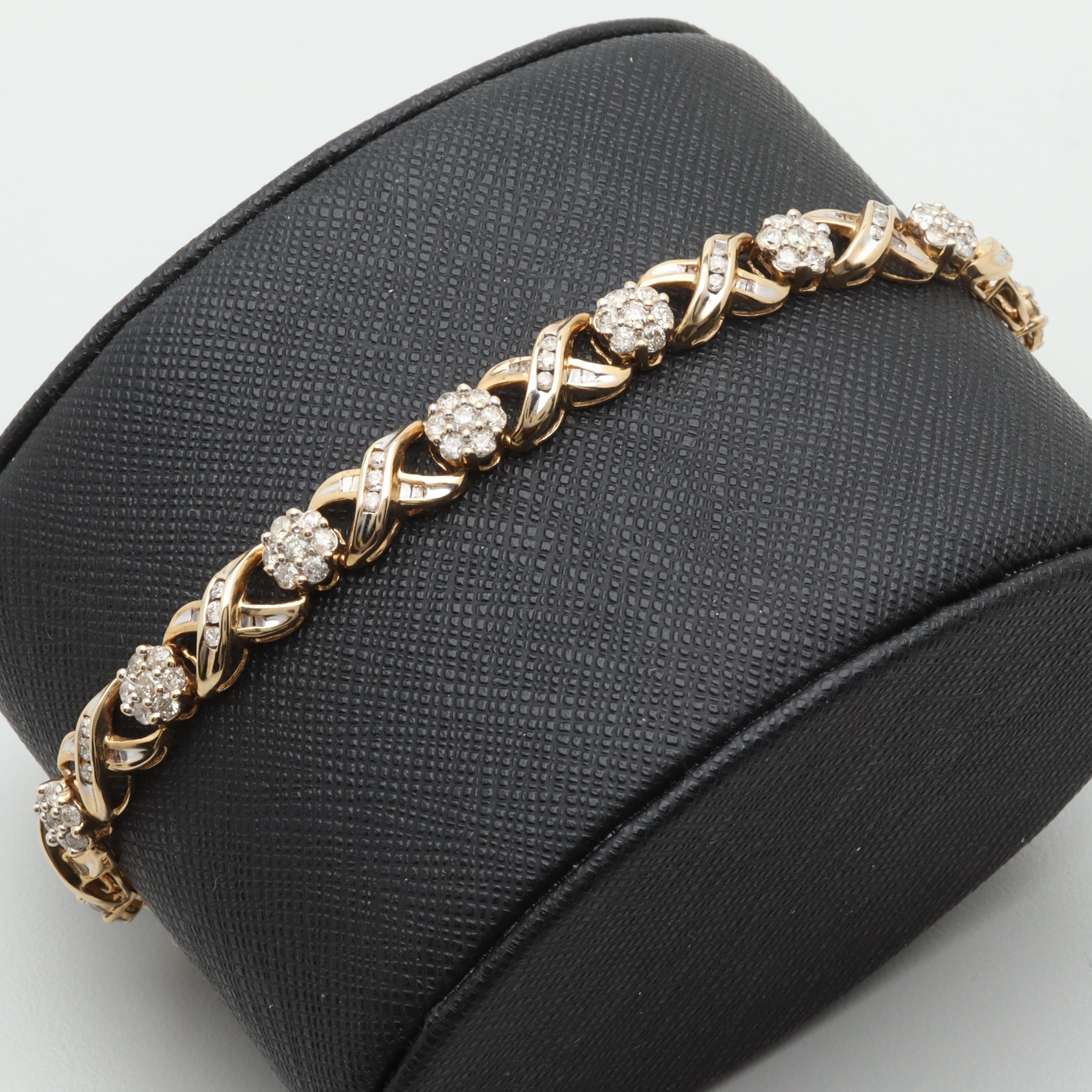 10K Yellow Gold 2.87 CTW Diamond Bracelet