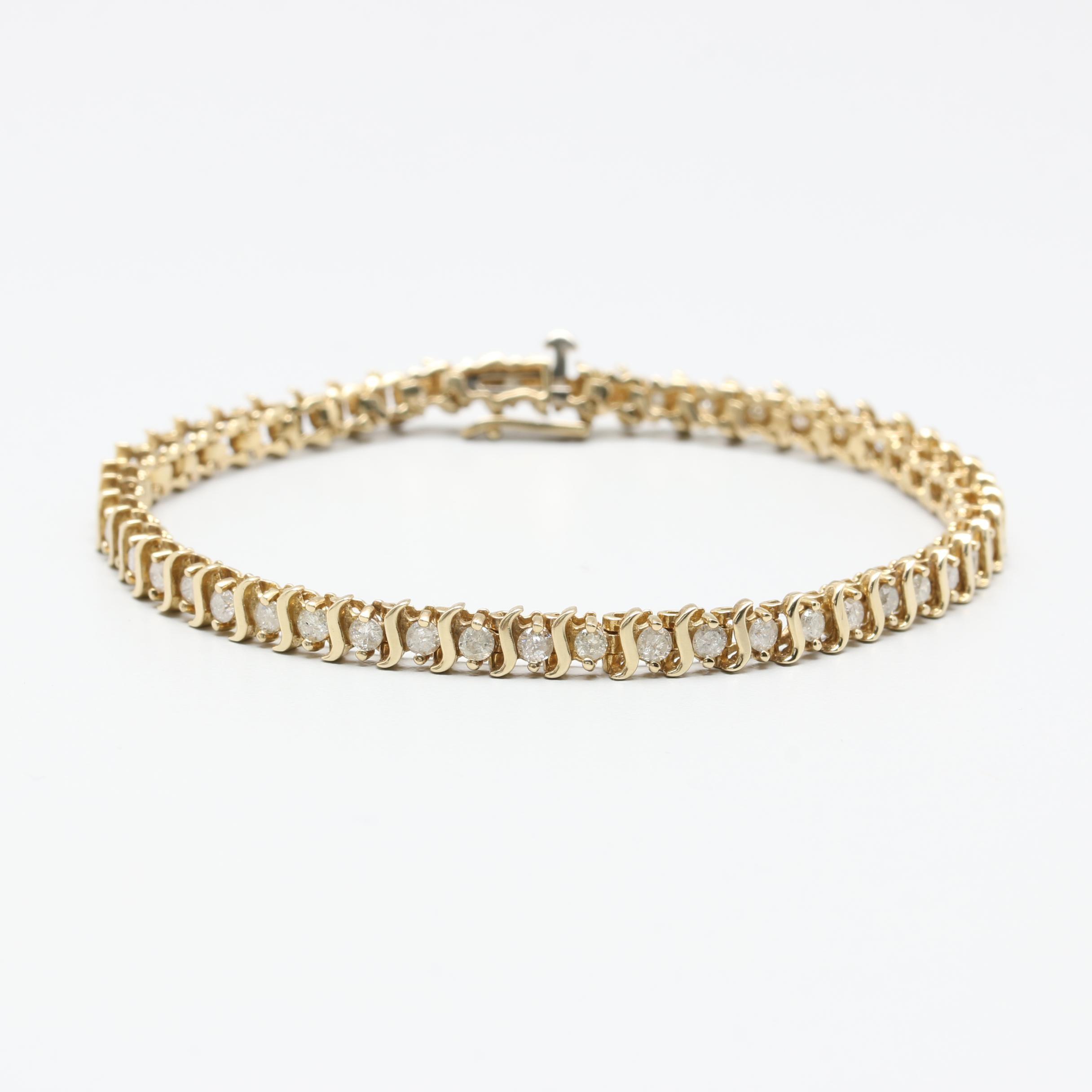 10K Yellow Gold 2.12 CTW Diamond Link Bracelet