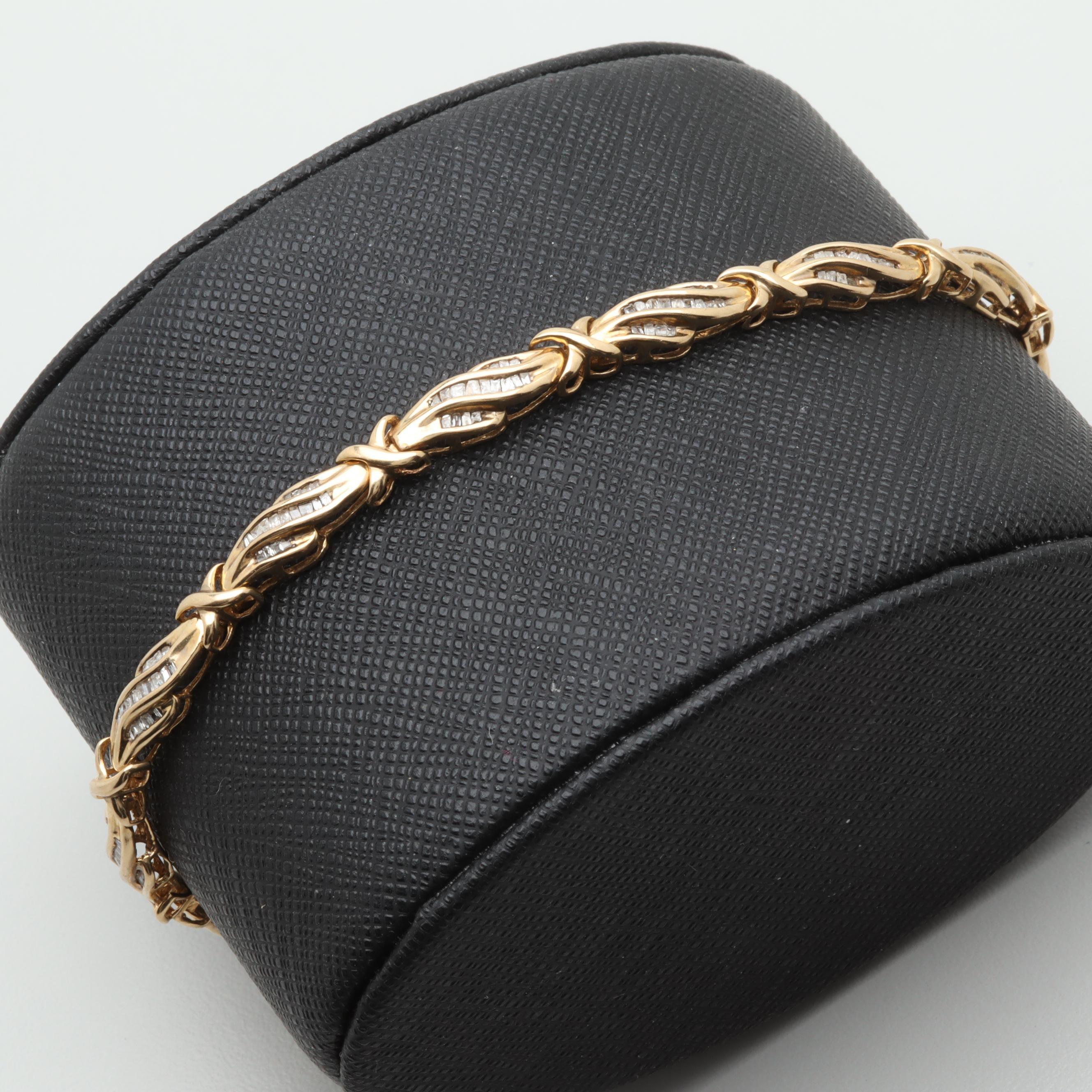 10K Yellow Gold 1.00 CTW Diamond Bracelet