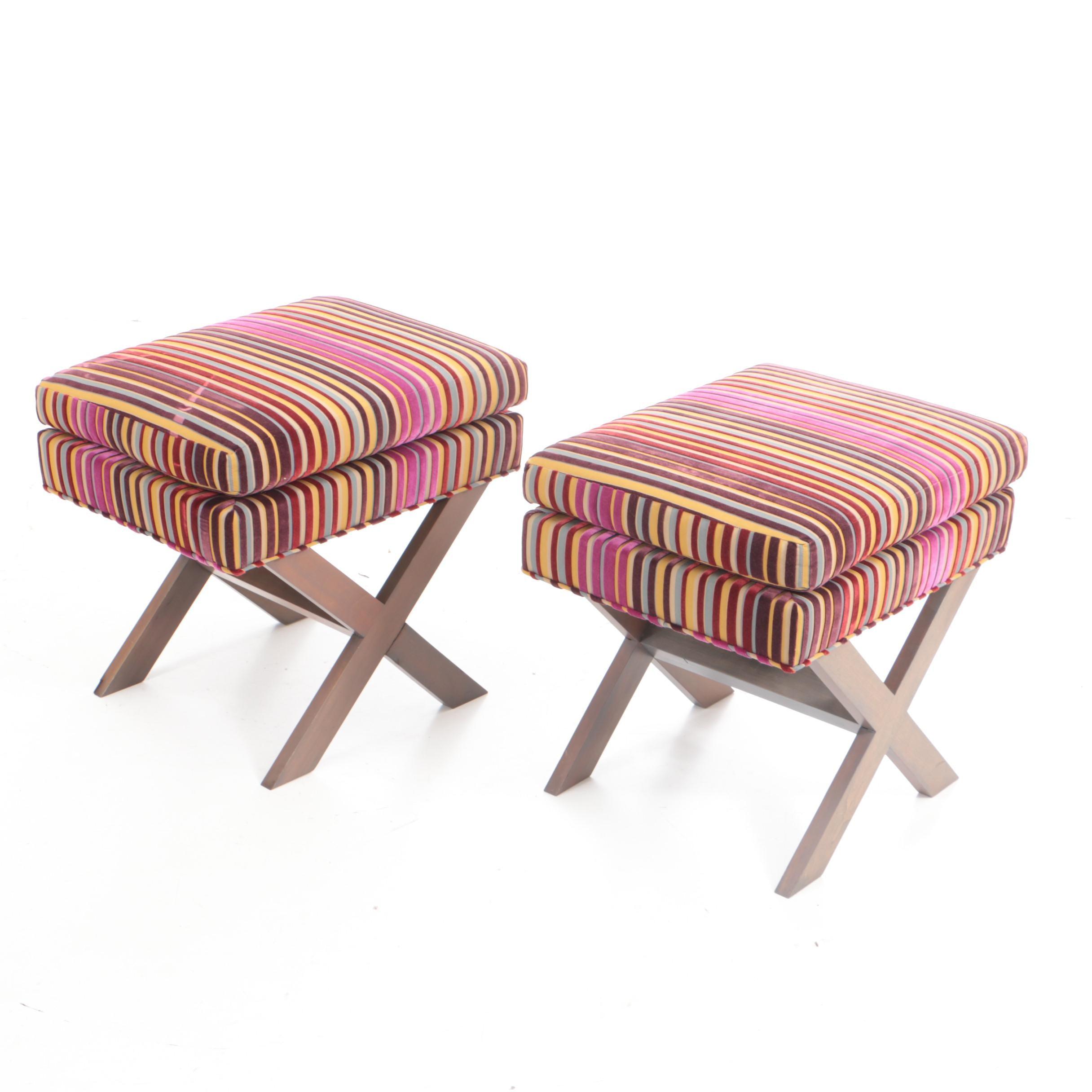 """Pair of """"X"""" Base Stools Custom Upholstered in Velvet Stripe Fabric"""