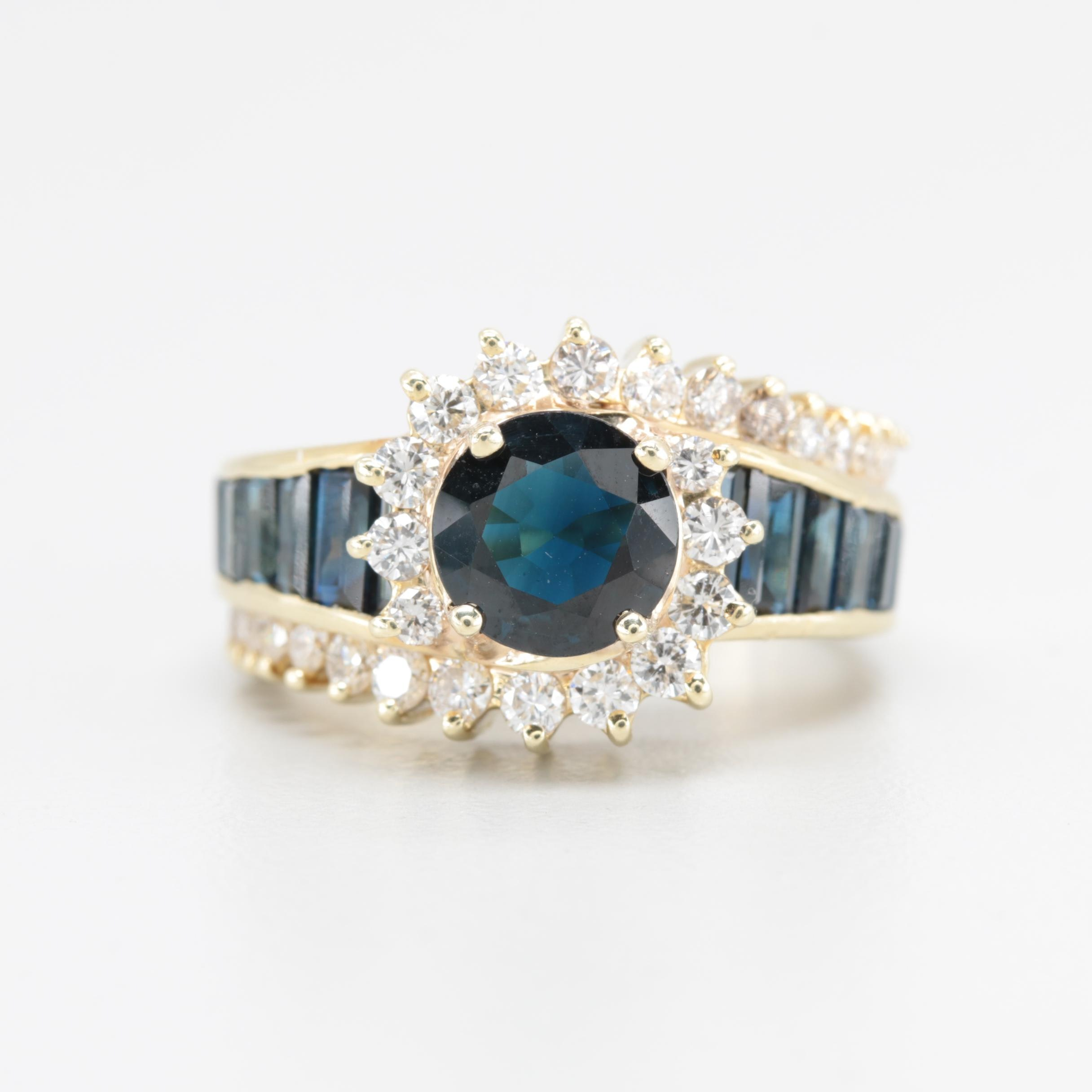 14K Yellow Gold 1.11 CT Sapphire and Daimond Ring