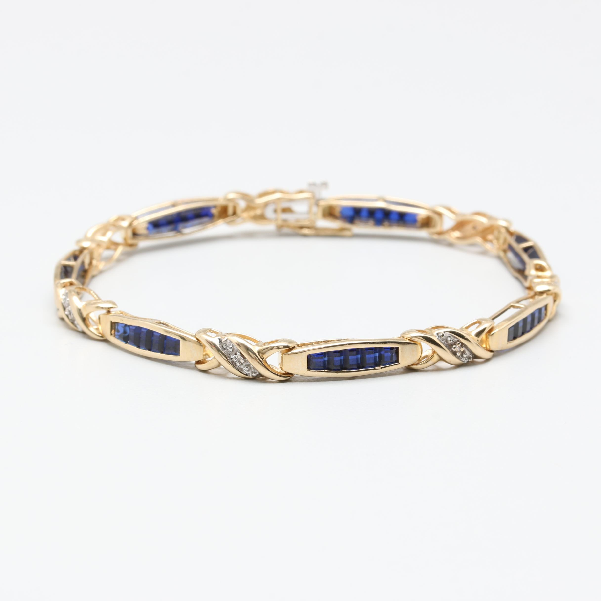 10K Yellow Gold Synthetic Blue Sapphire and Diamond Link Bracelet