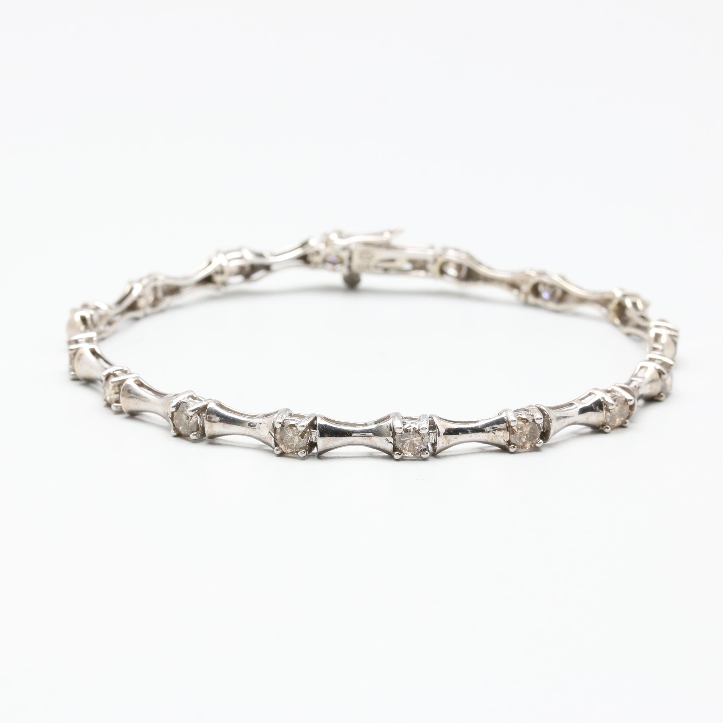 10K White Gold 2.50 CTW Diamond Link Bracelet