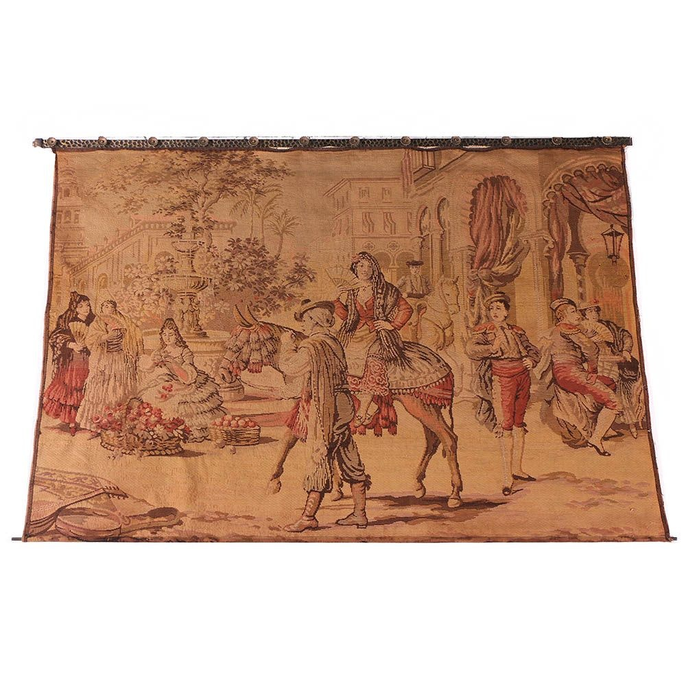 Large Woven Wall Tapestry with Metal Support Rod