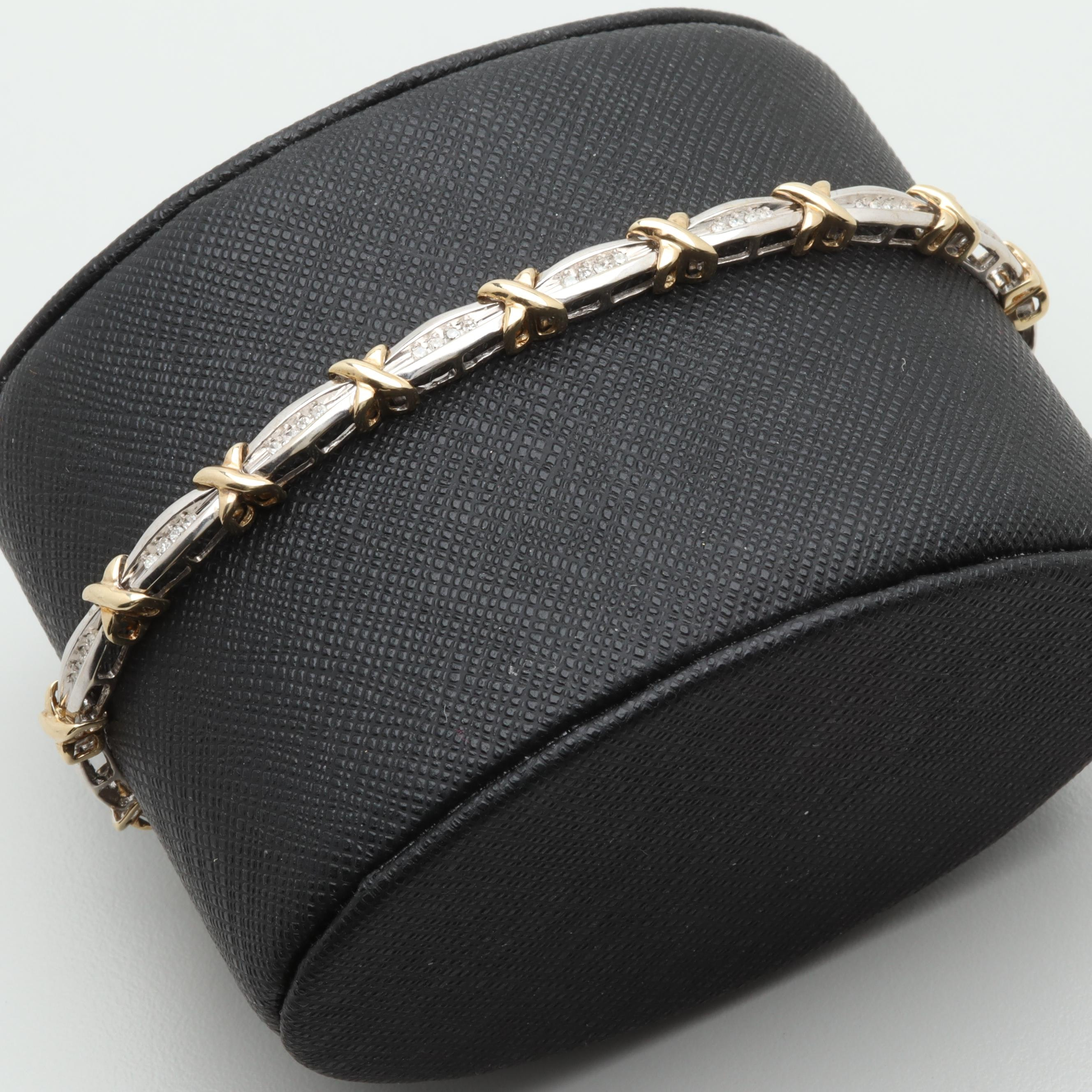 10K White and Yellow Gold Diamond Bracelet