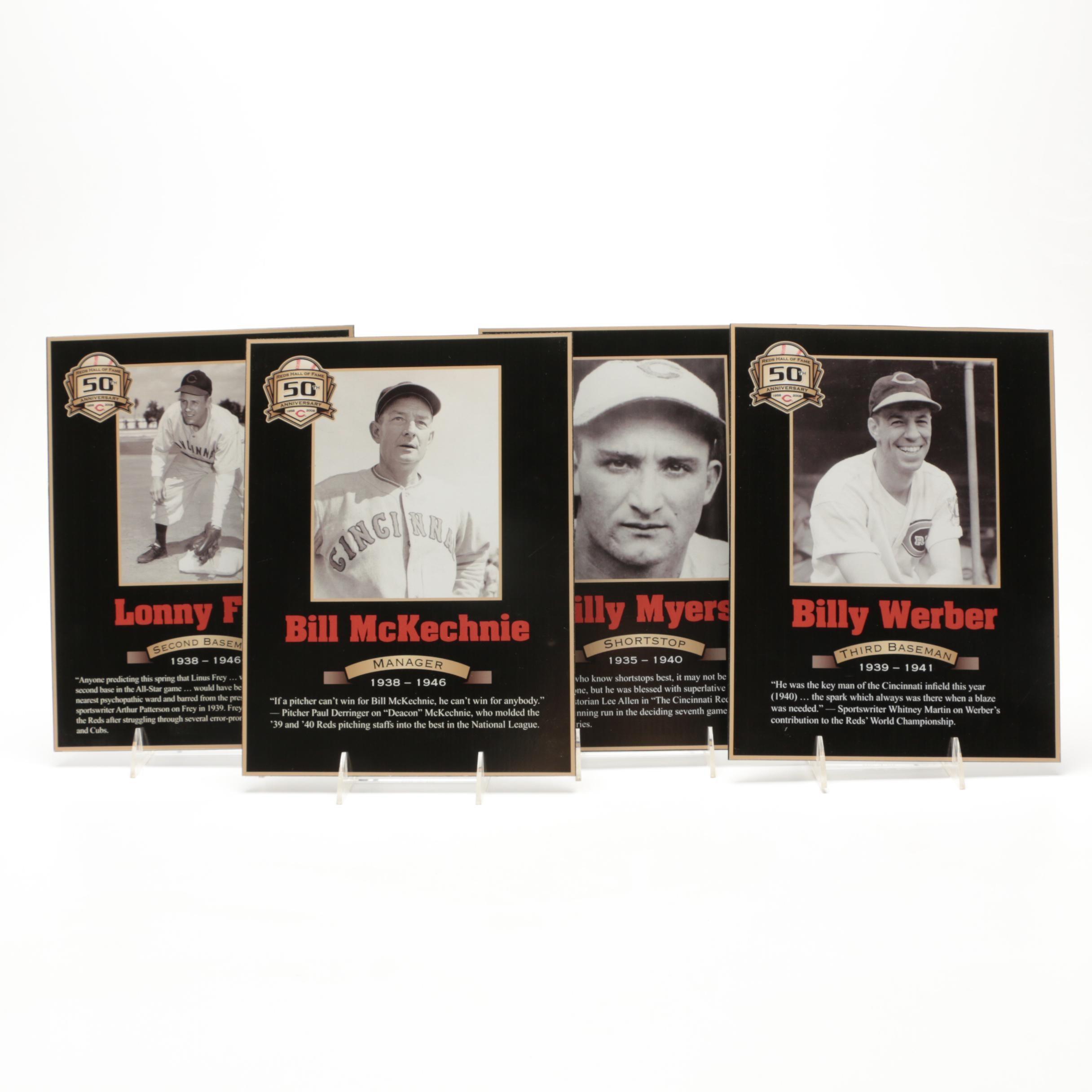 Four 1939-1940 Cincinnati Reds Hall of Fame Photo Plaques COA