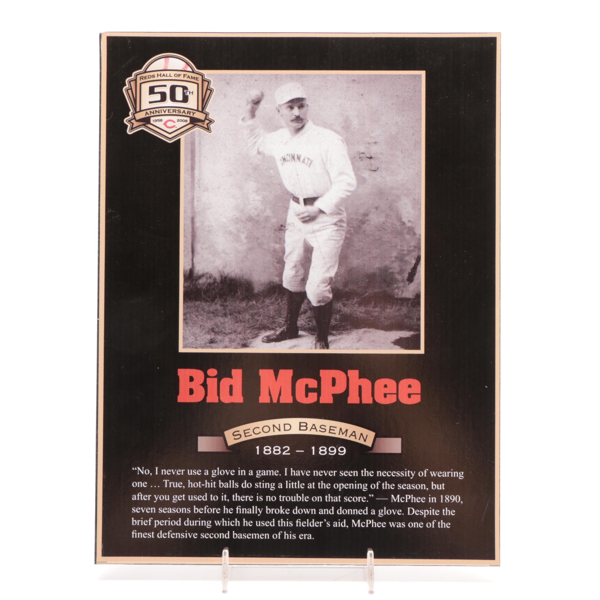Bid McPhee Cincinnati Reds Hall of Fame Photo Plaque COA