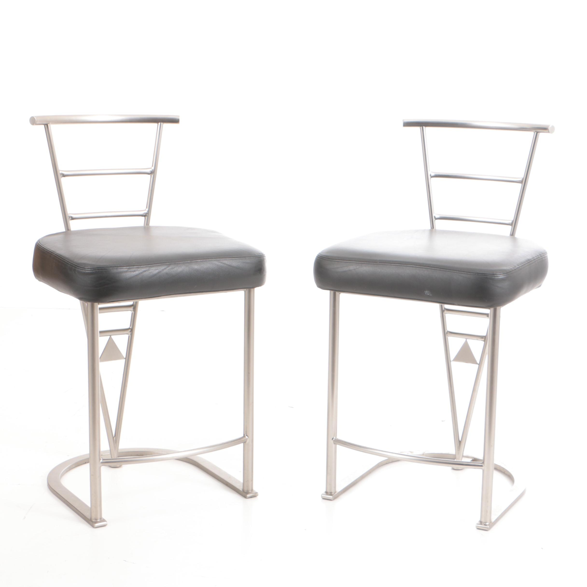 Pair of Aluminum and Black Leather Barstools by Design Institute America