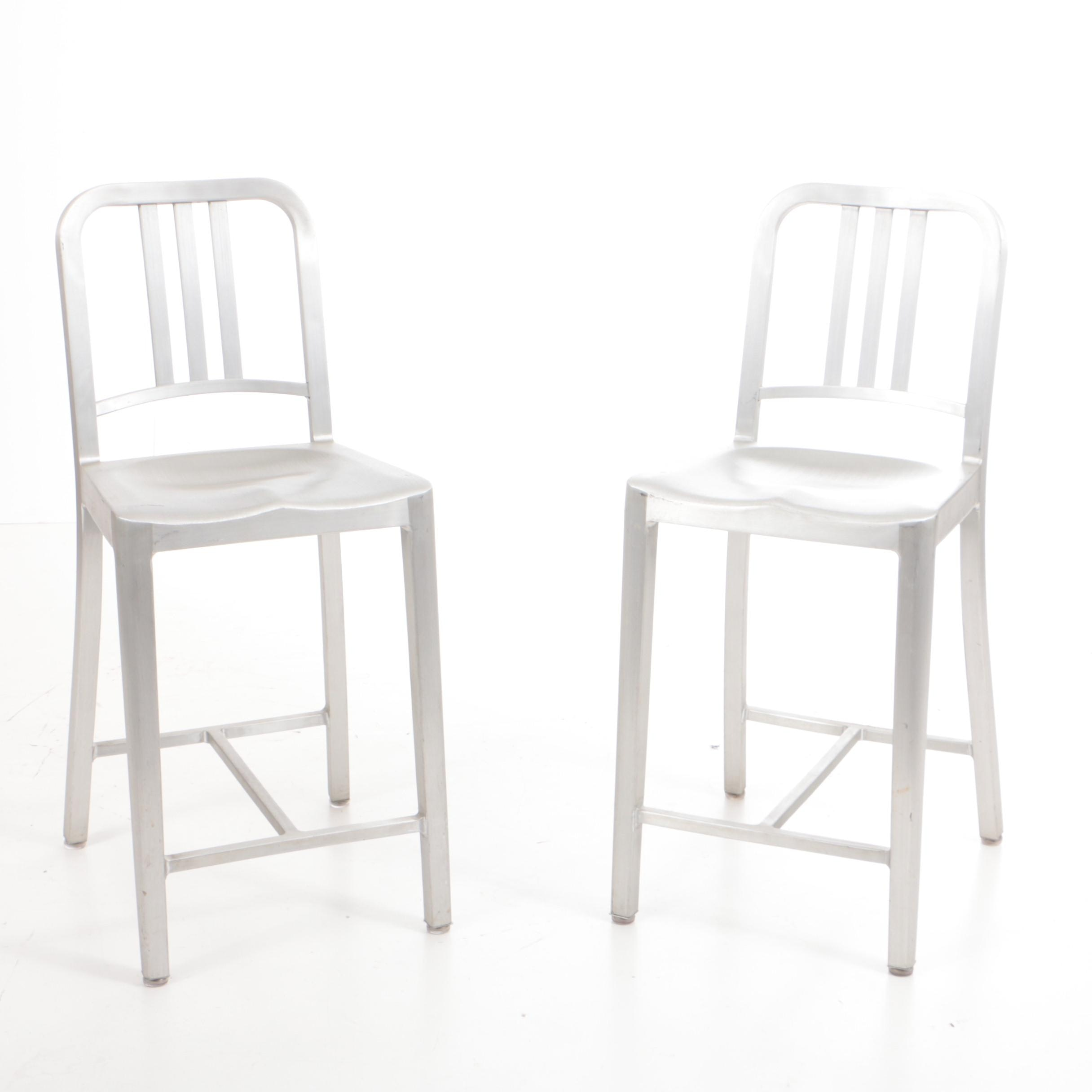 "Pair of Emeco ""Navy"" Counter Stools in Recycled Aluminum"
