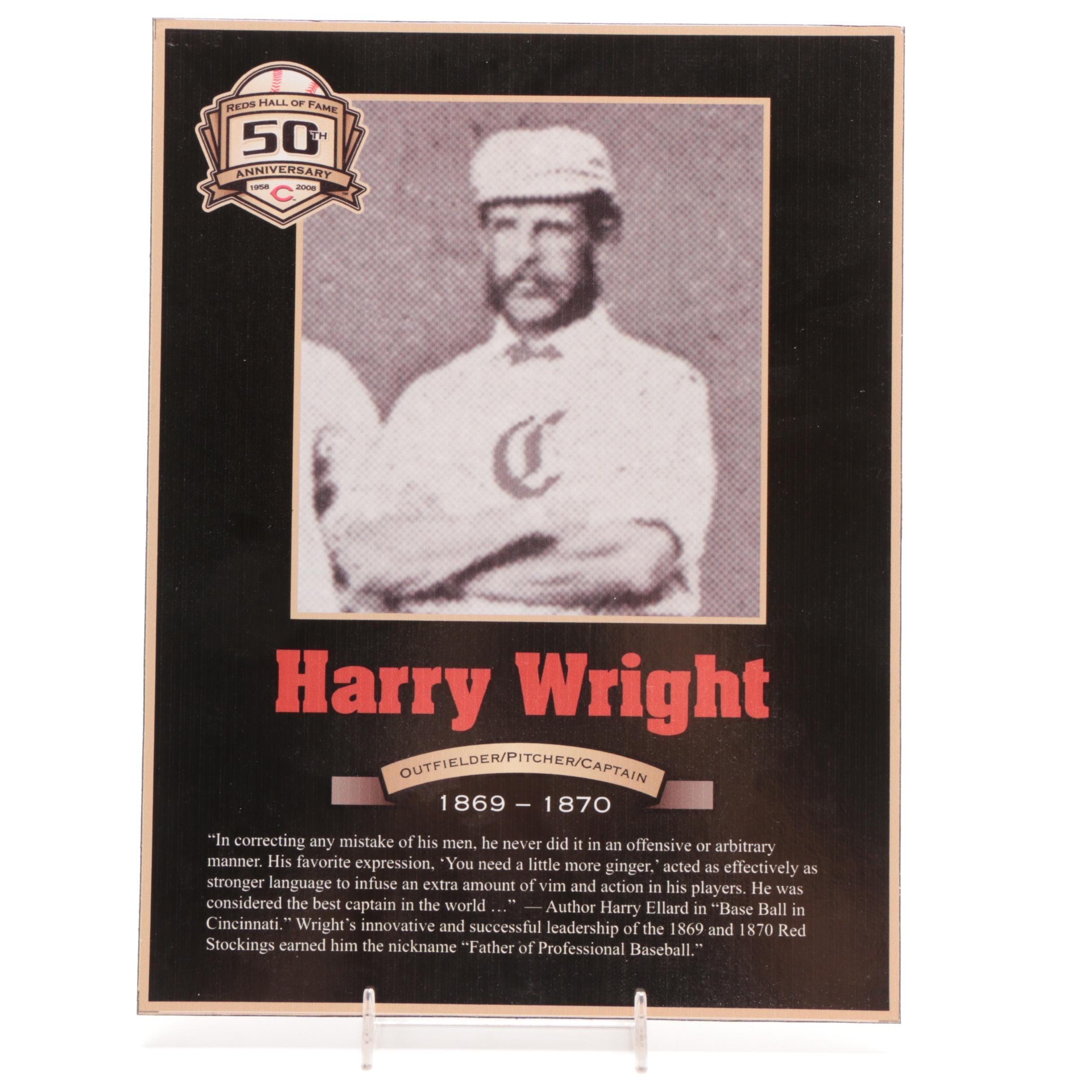 Harry Wright Cincinnati Reds Hall of Fame Photo Plaque COA