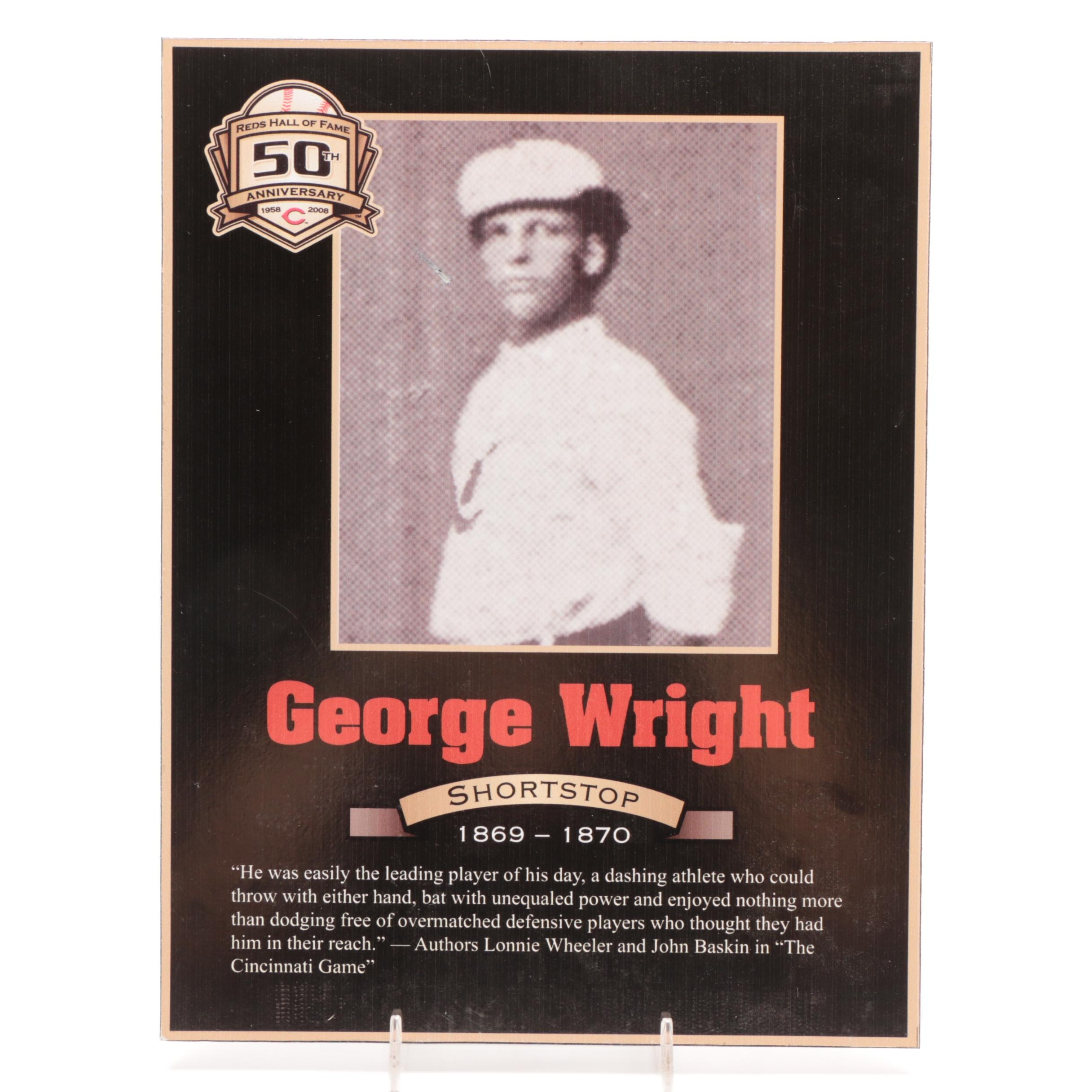 George Wright 1869-1870 Reds Hall of Fame Photo Plaque COA