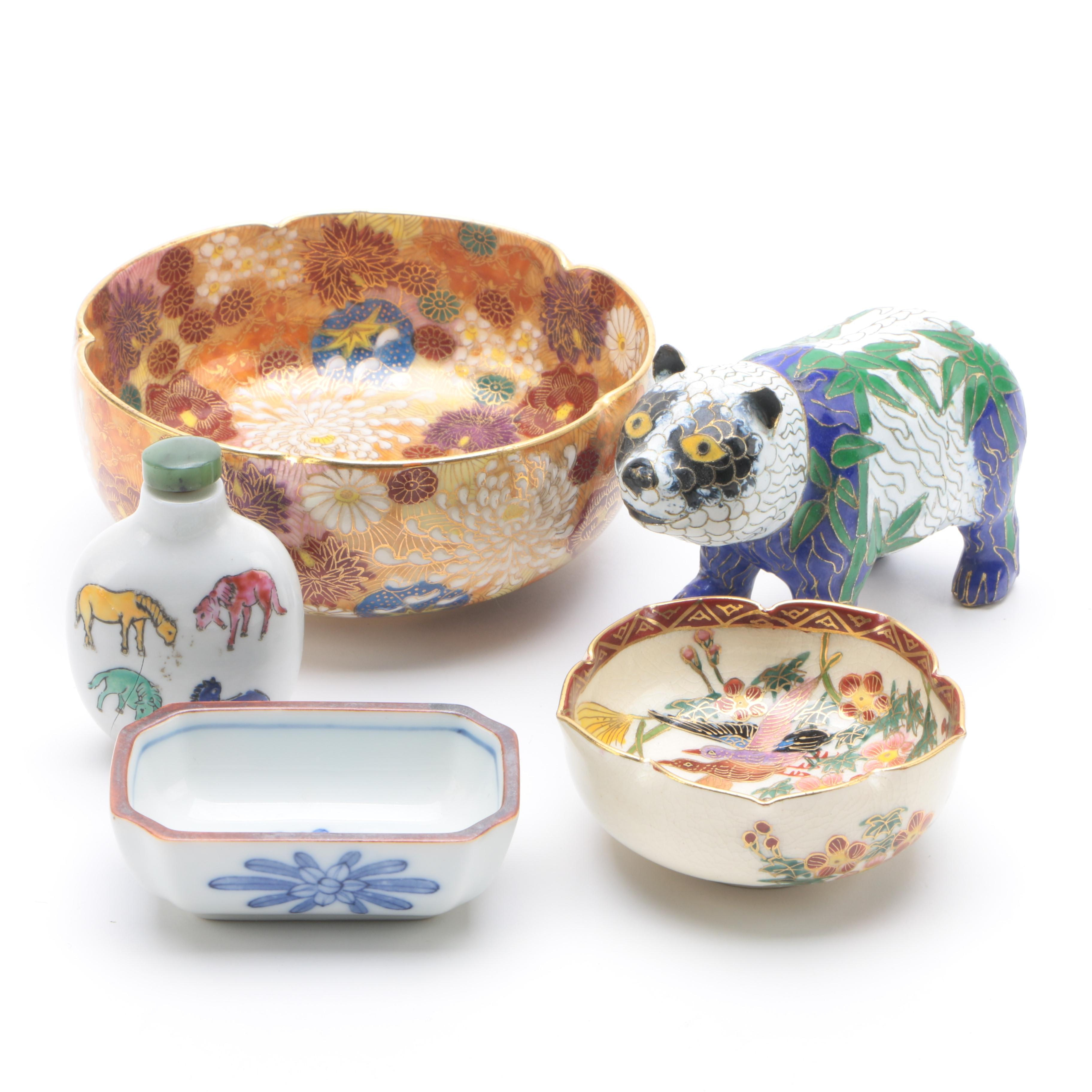 Chinese Cloisonné Panda Figurine with East Asian Bowls and Snuff Bottle