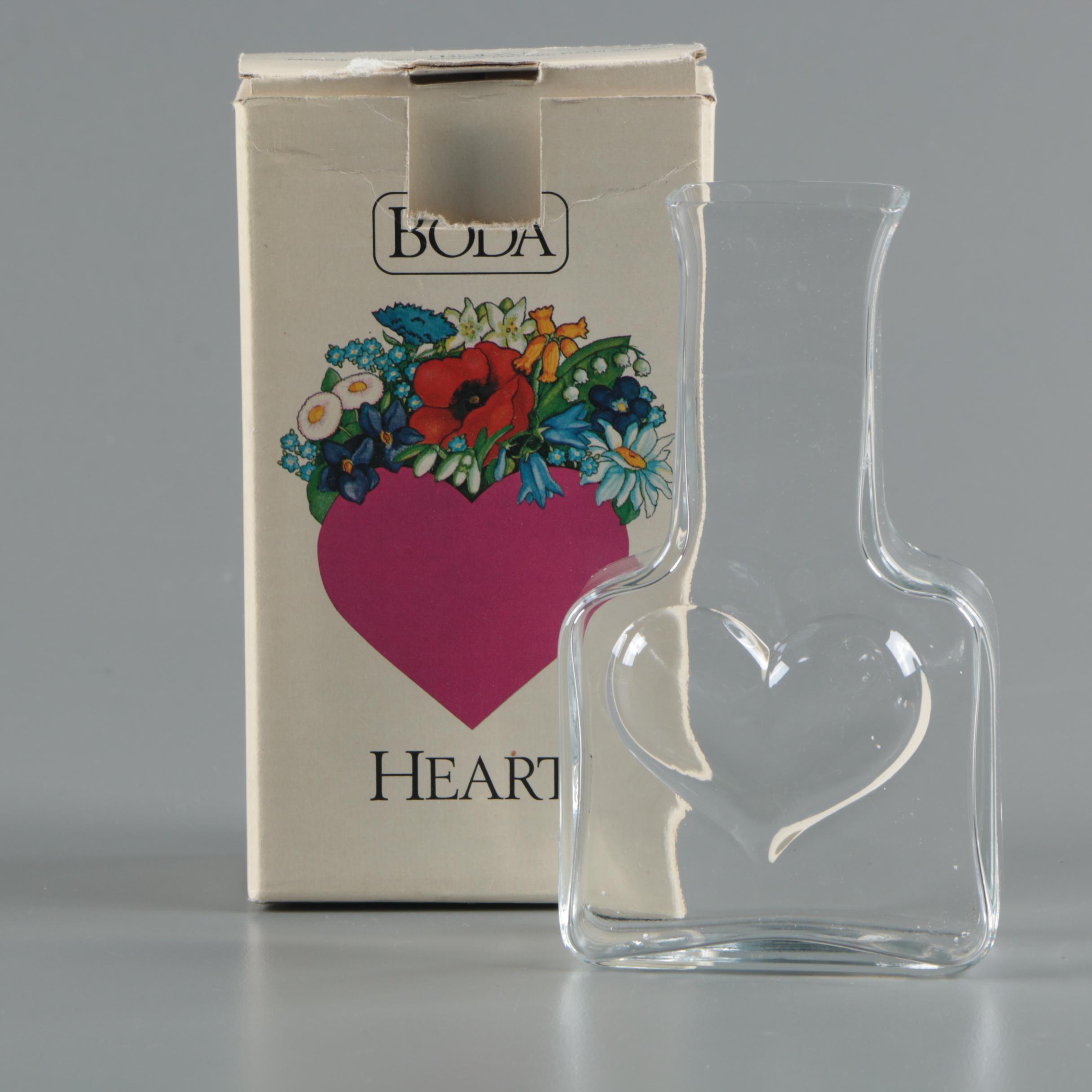"""Vintage Boda """"Heart"""" Art Glass Vase by Bertil Vallien ca. 1960-70's"""