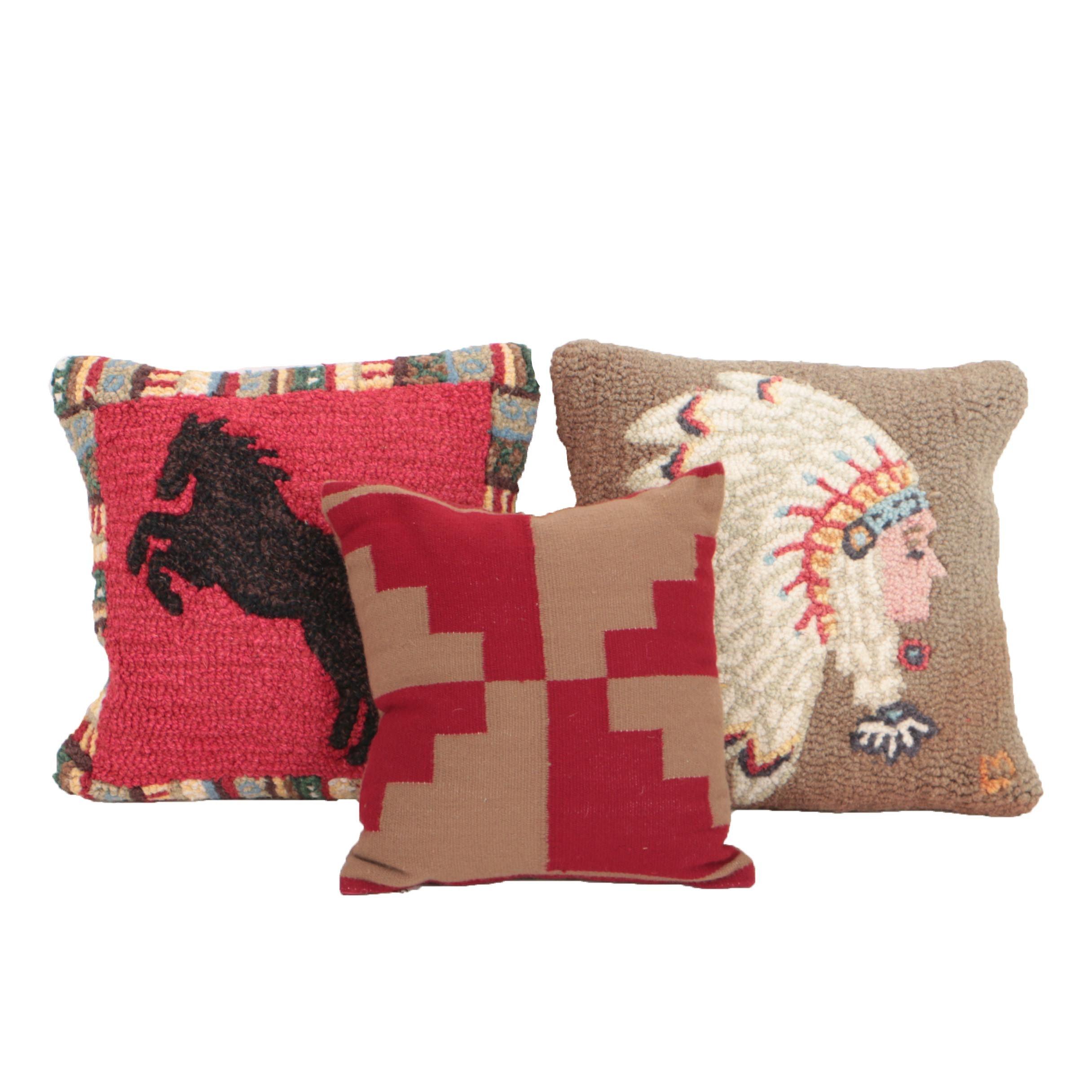 Chandler 4 Corners Hand Hooked Pillows and Peruvian Pillow