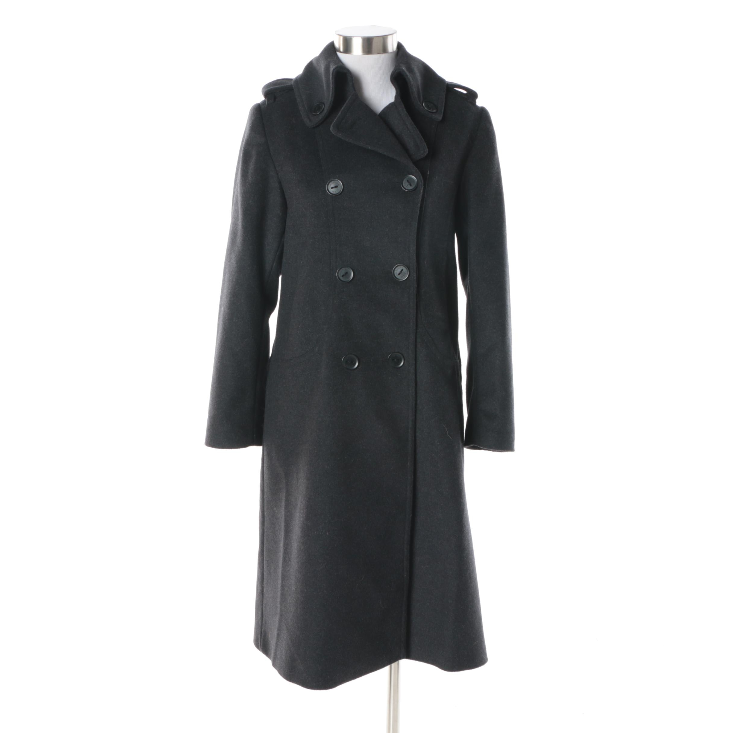 Via by Via Spiga Double-Breasted Charcoal Grey Wool and Cashmere Blend Coat