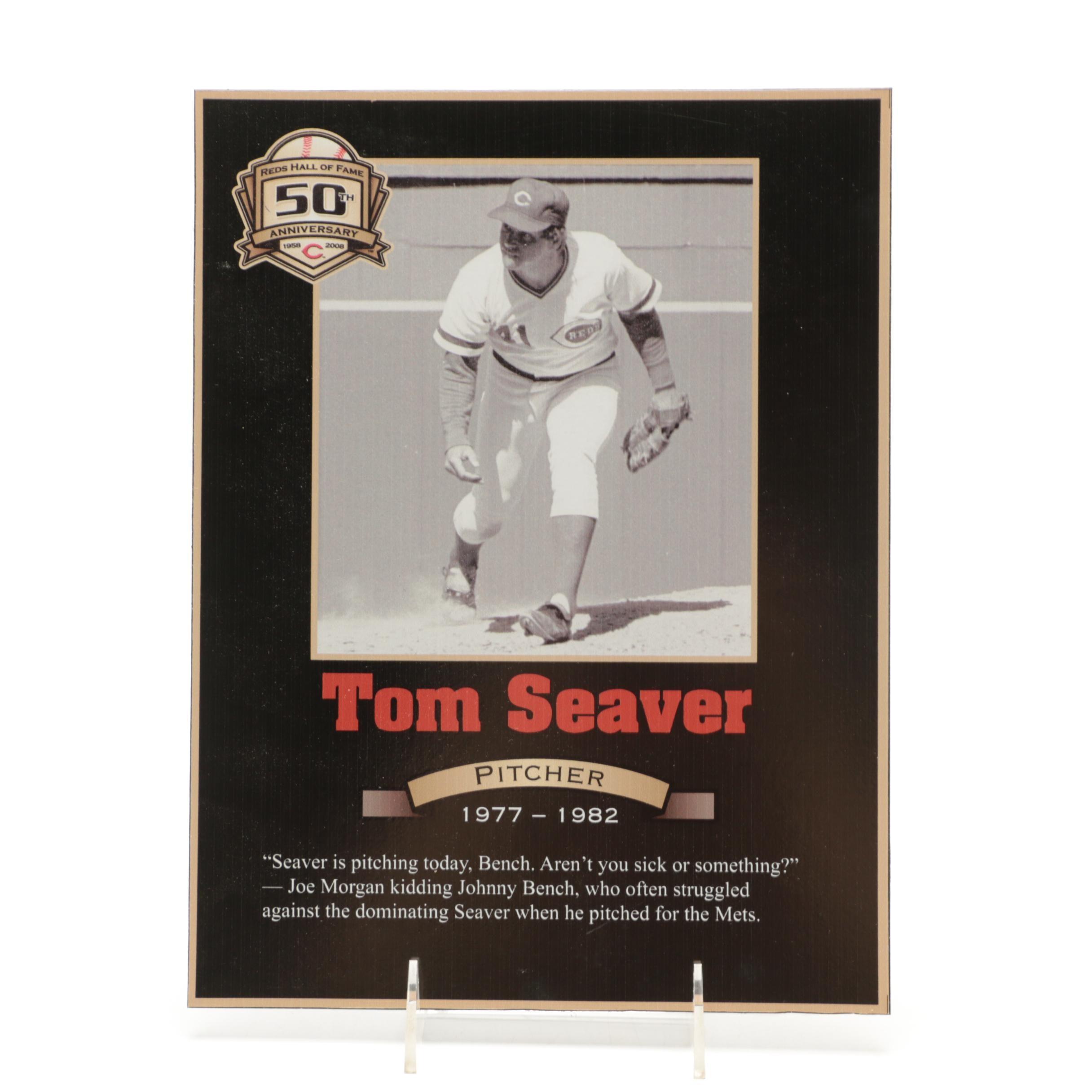 Tom Seaver Cincinnati Reds Hall of Fame Photo Plaque COA