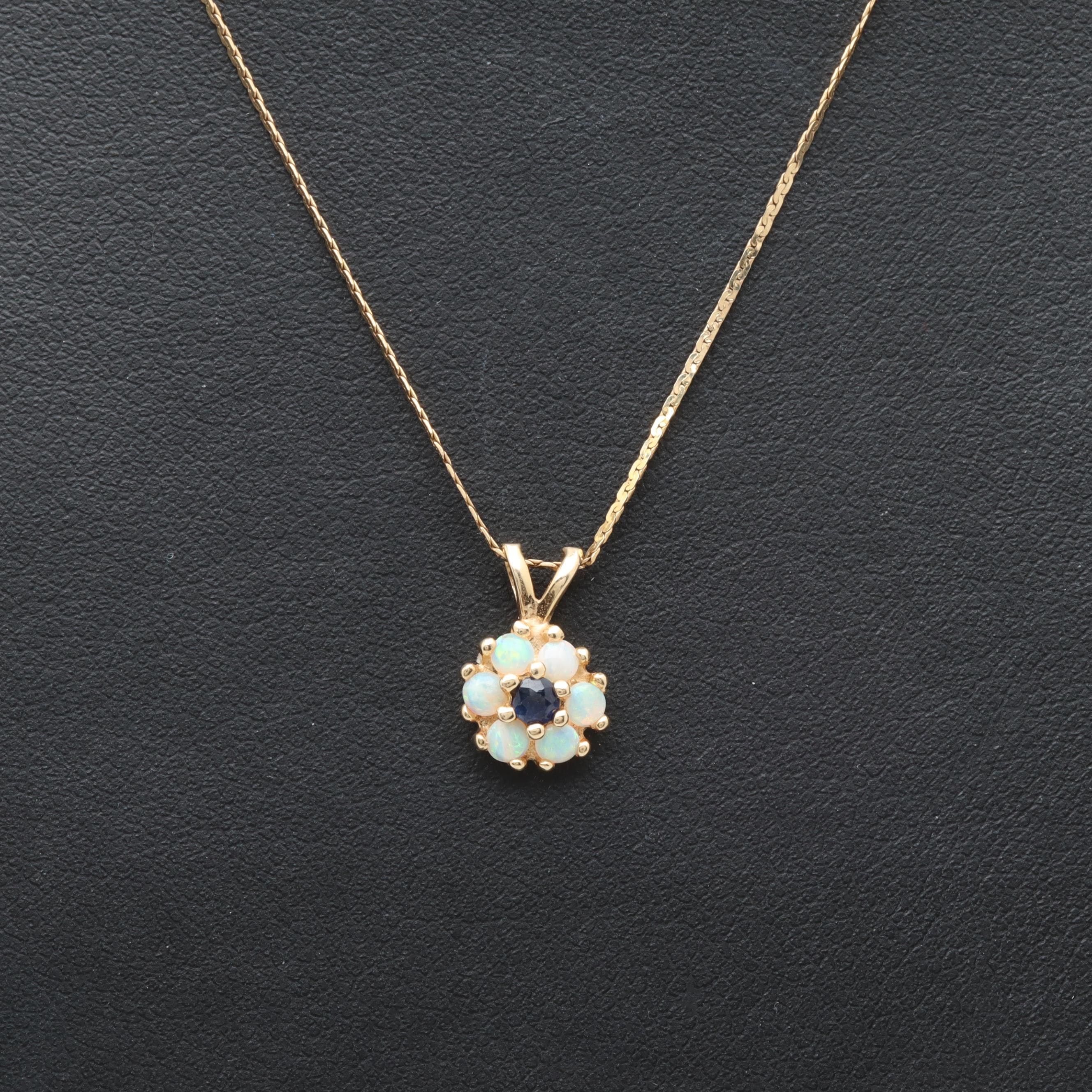 14K Yellow Gold Blue Sapphire and Opal Necklace
