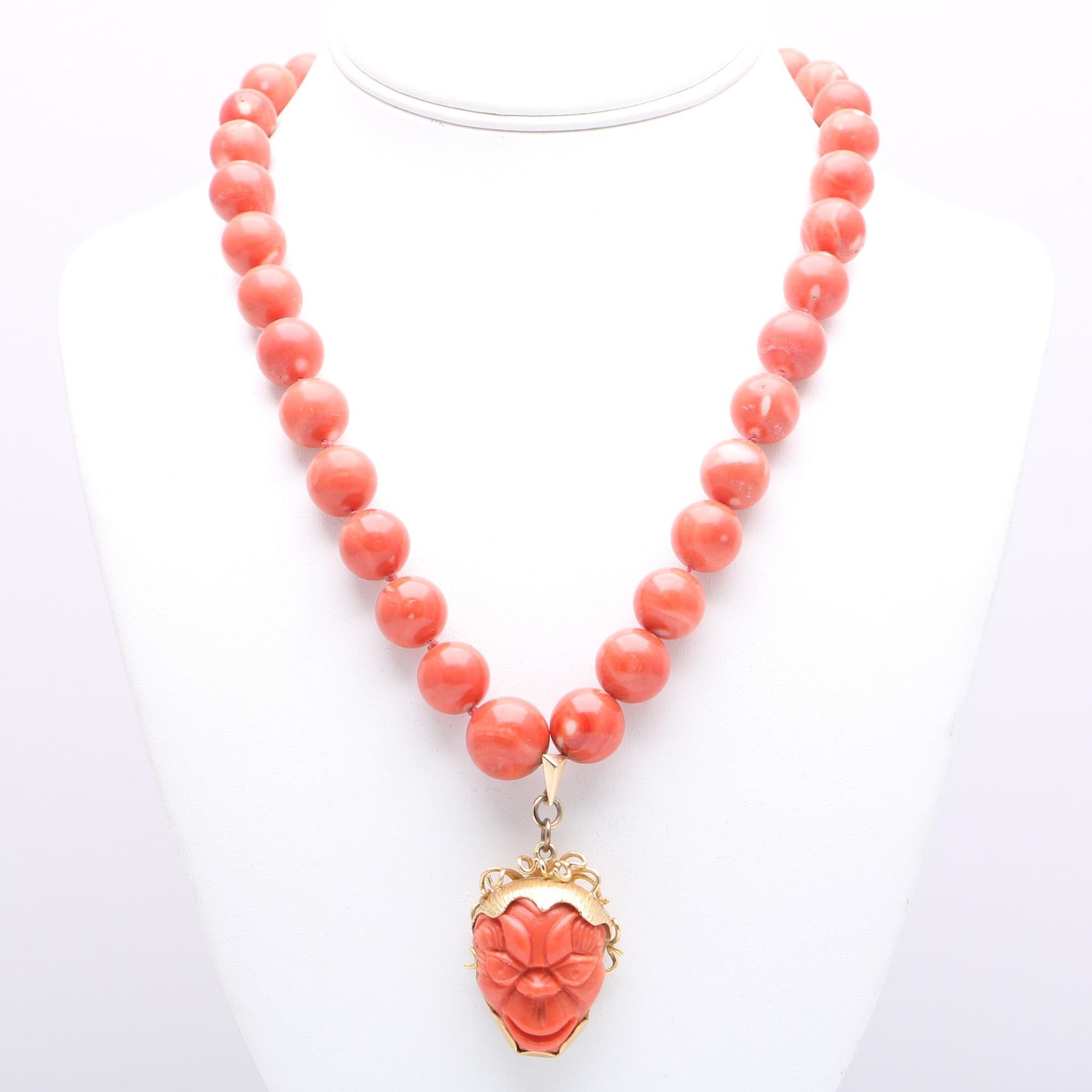 18K Yellow Gold Coral Bead Necklace