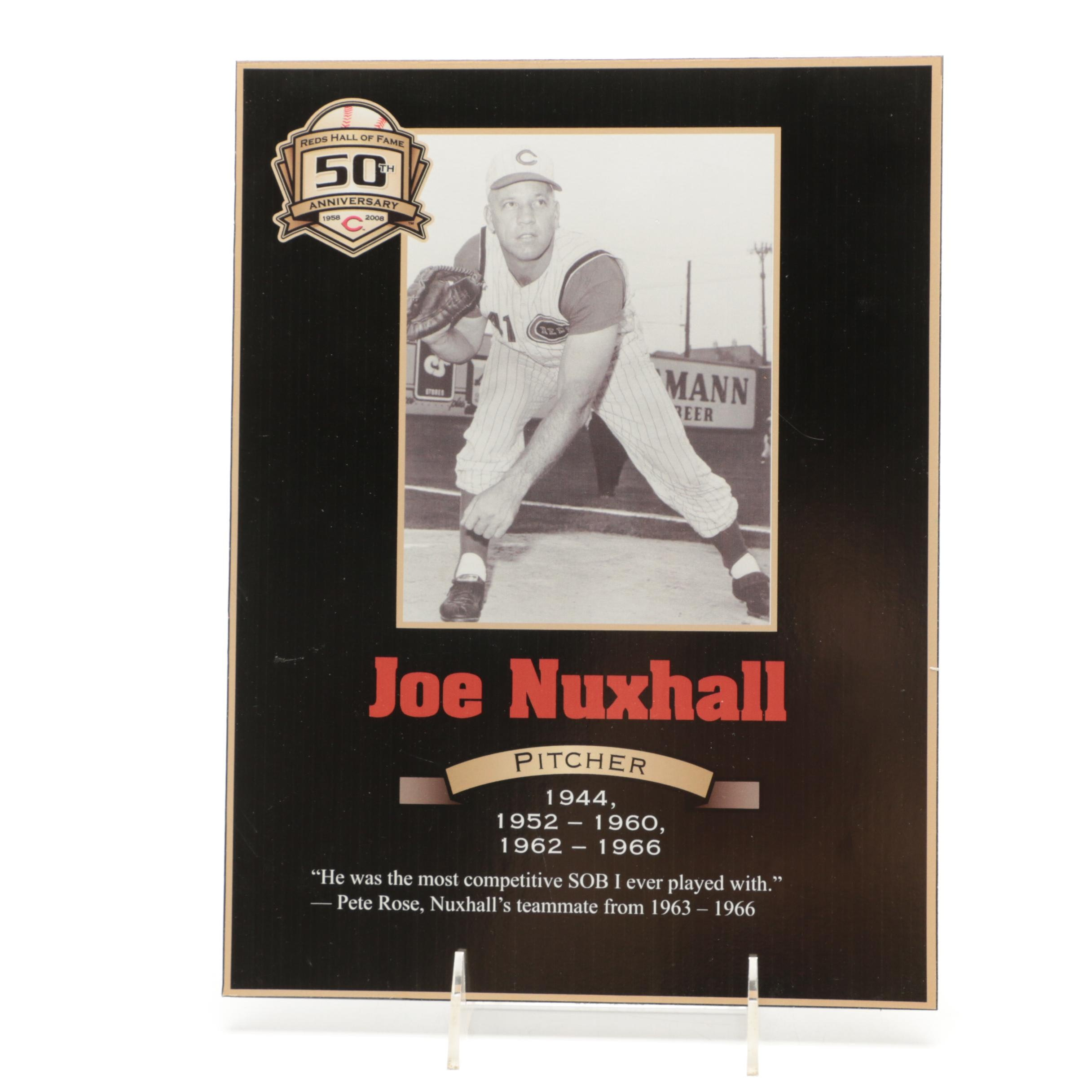 Joe Nuxhall Cincinnati Reds Hall of Fame Photo Plaque COA