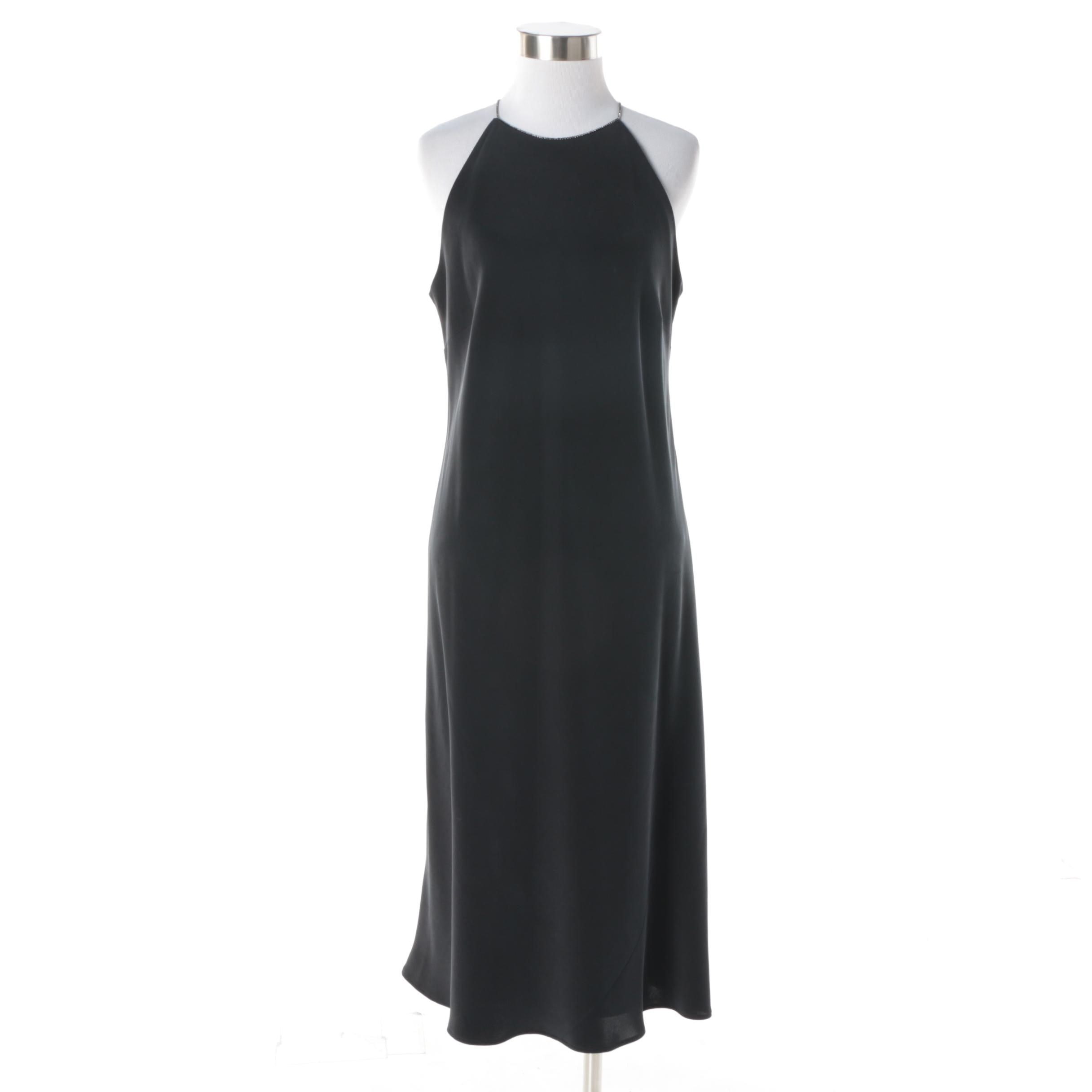 Women's Lauren Ralph Lauren Rhinestone Strap Black Silk Cocktail Dress