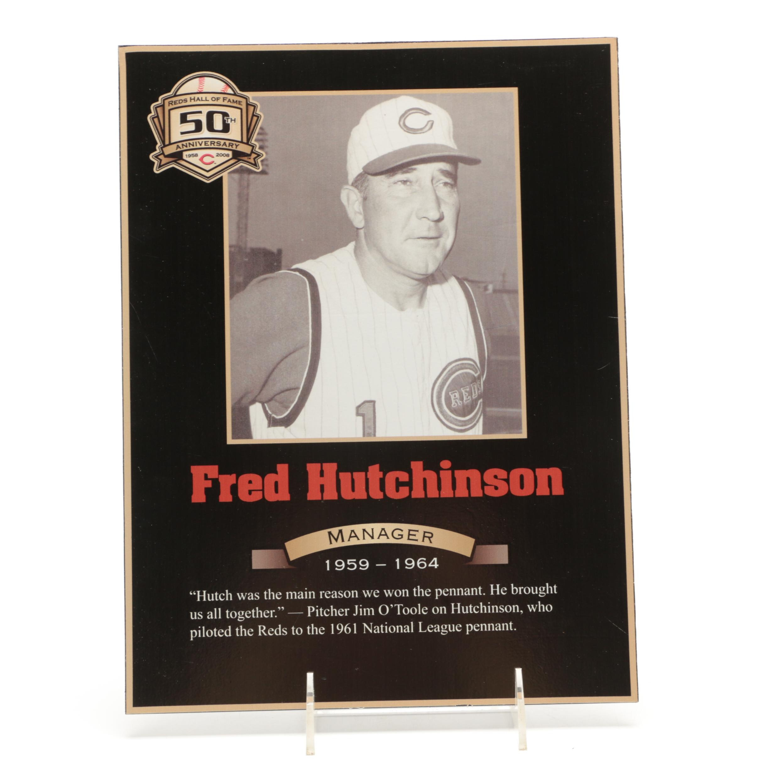 Fred Hutchinson Cincinnati Reds Hall of Fame Photo Plaque COA