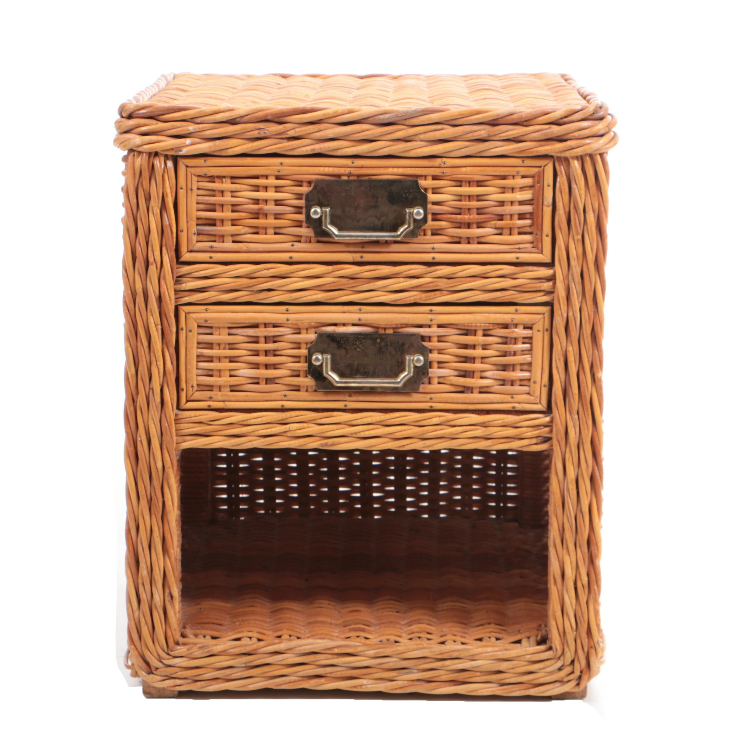 Rattan Wicker Accent Table with Drawers