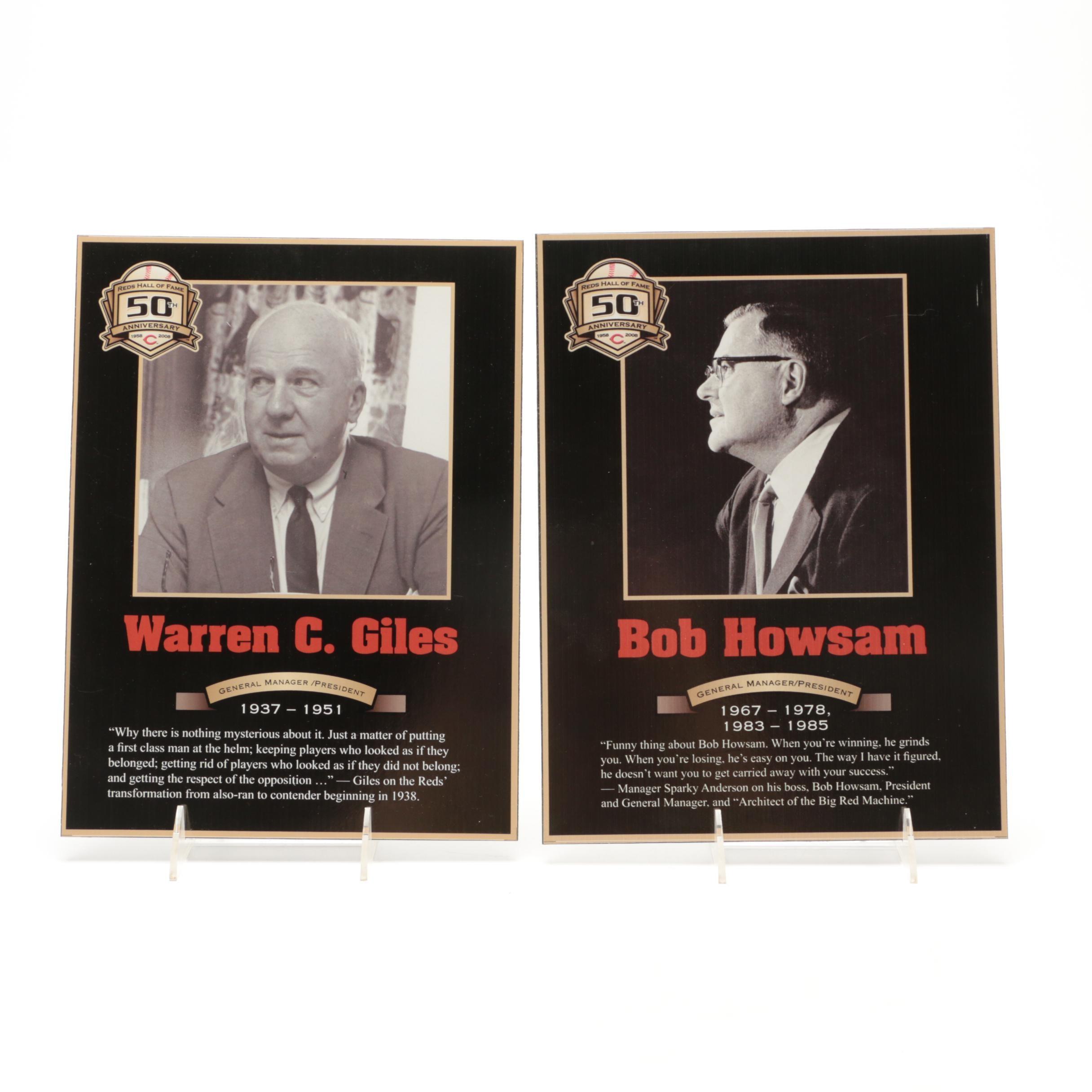 Warren Giles and Bob Howsam Cincinnati Reds Hall of Fame Photo Plaques COA
