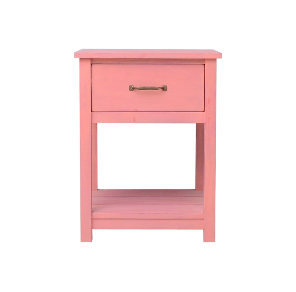 Solid Maple End Table Painted Pink