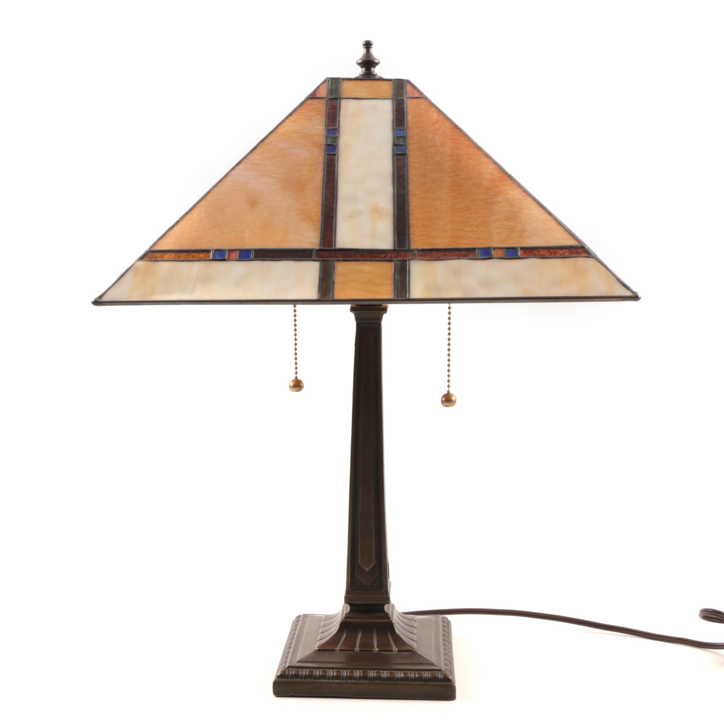 Arts and Crafts Style Slag Glass and Bronze Tone Table Lamp