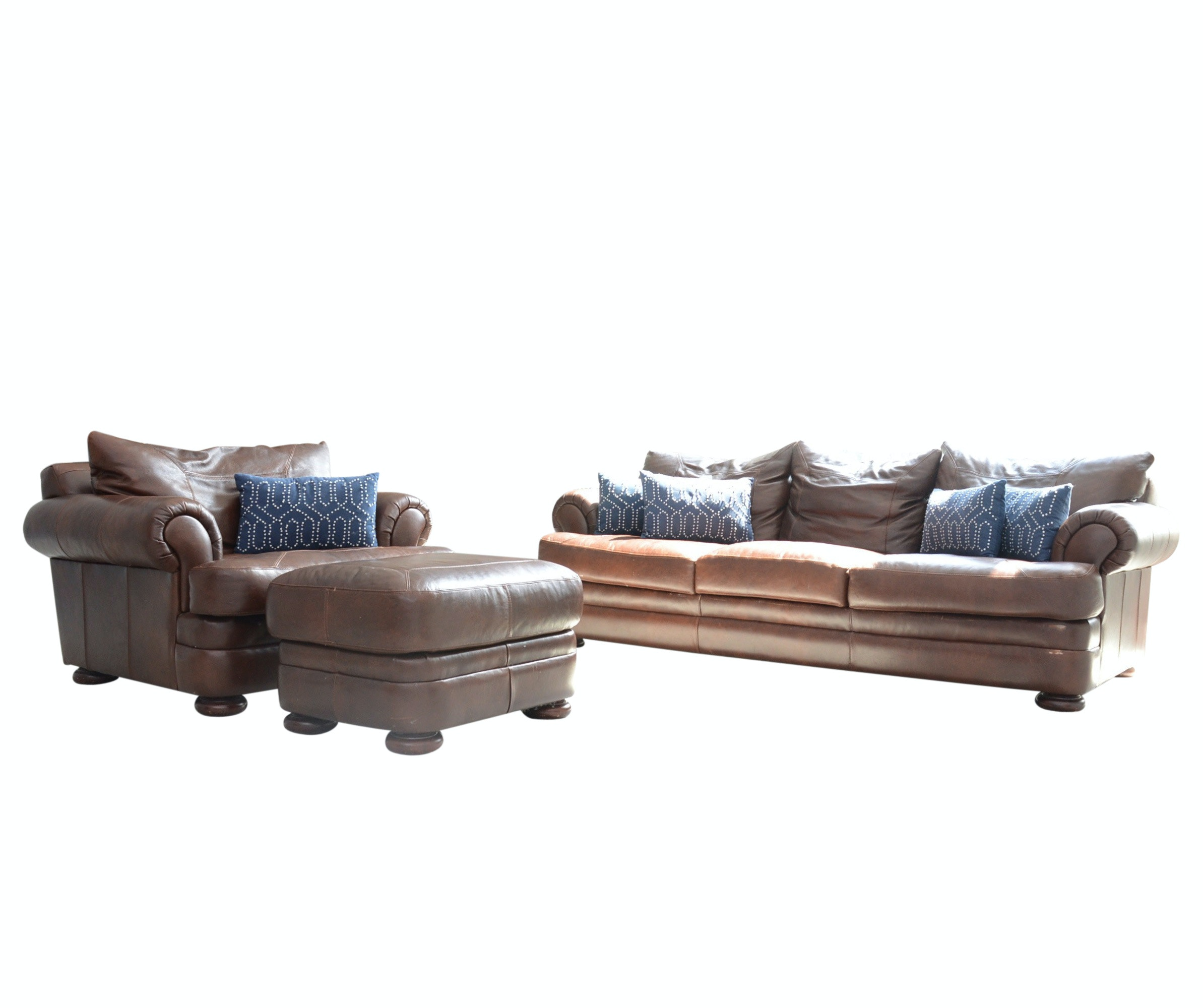 Leather Sofa and Club Chair with Ottoman