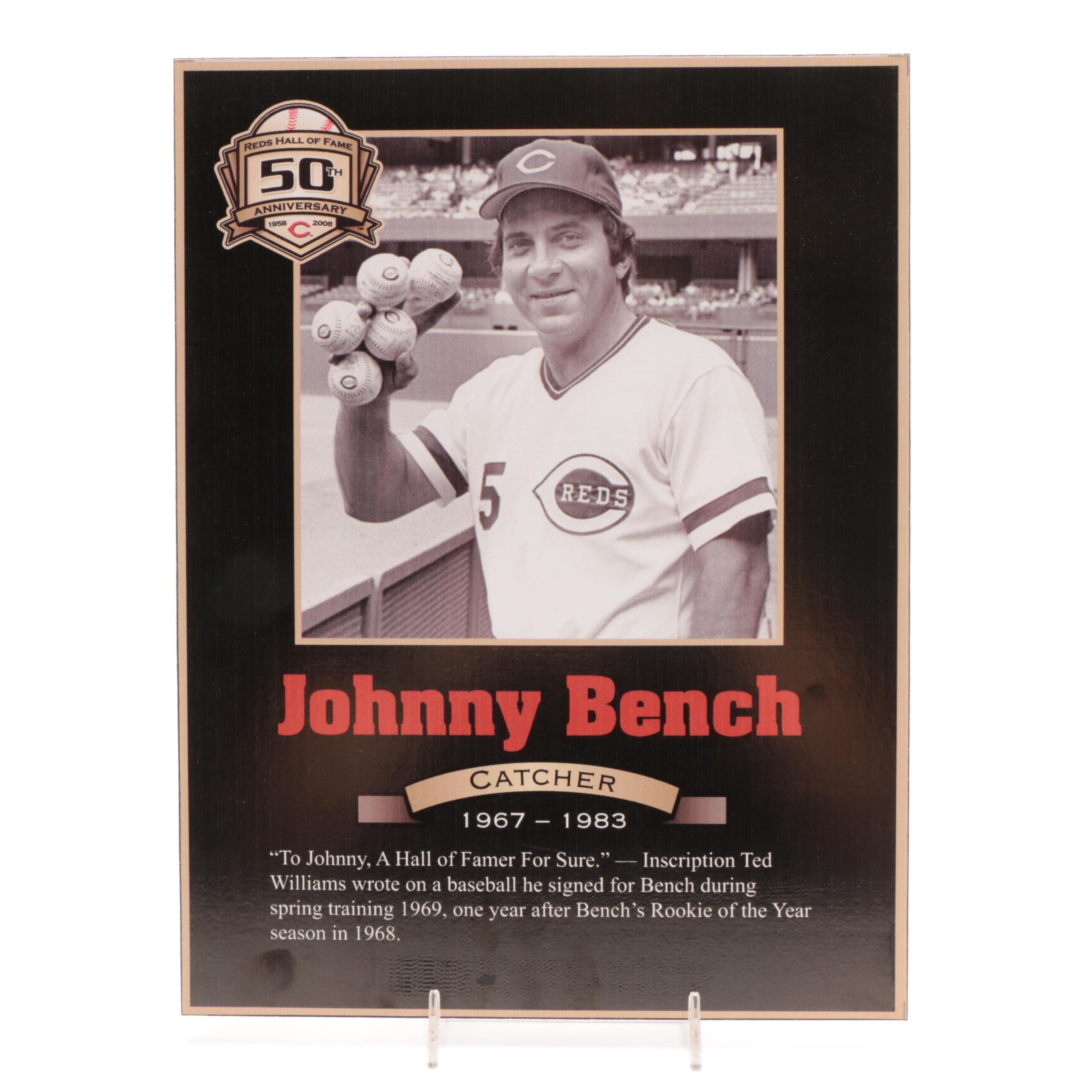 Johnny Bench Cincinnati Reds Hall of Fame Photo Plaque COA