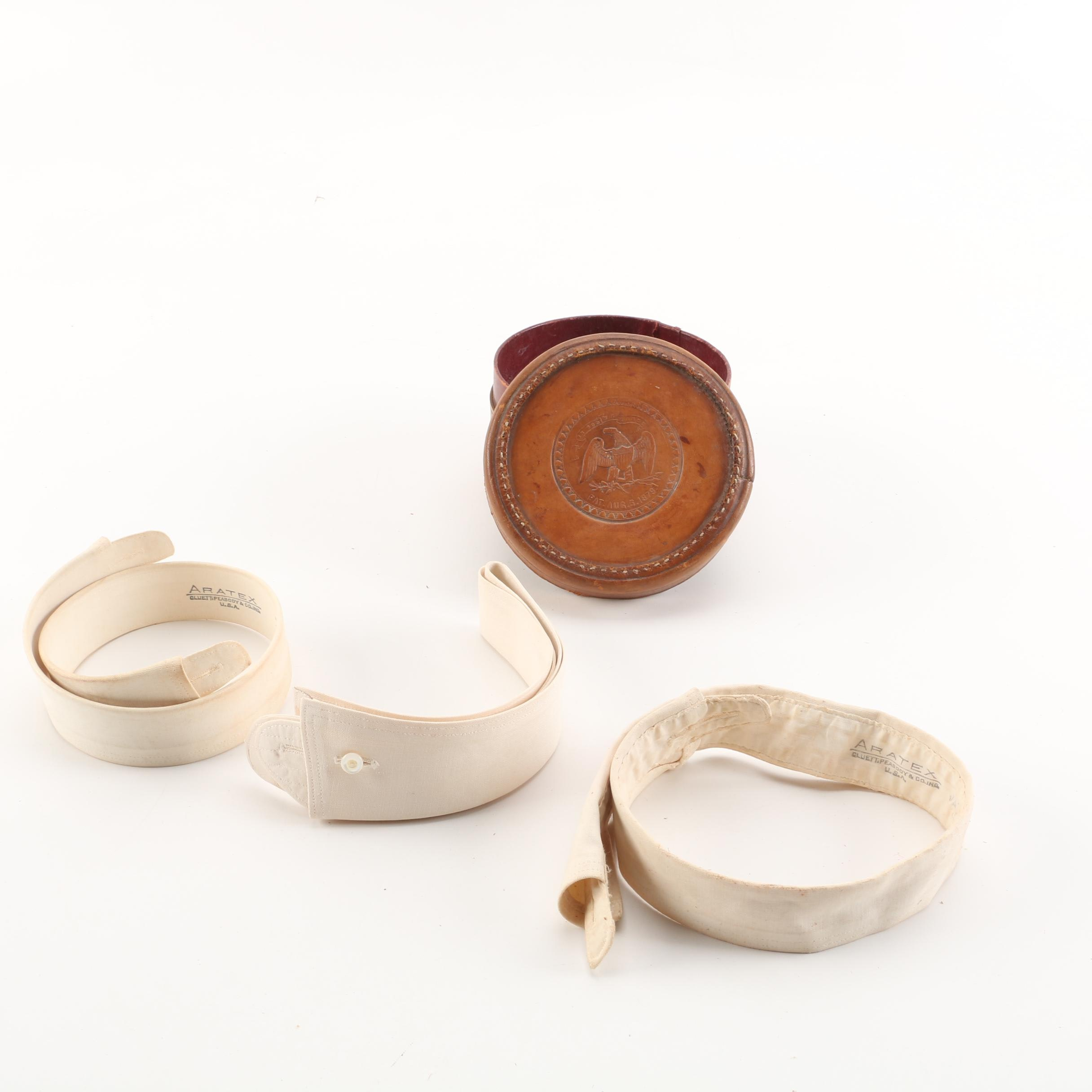 19th Century Leather Collar Box And Cloth Collars