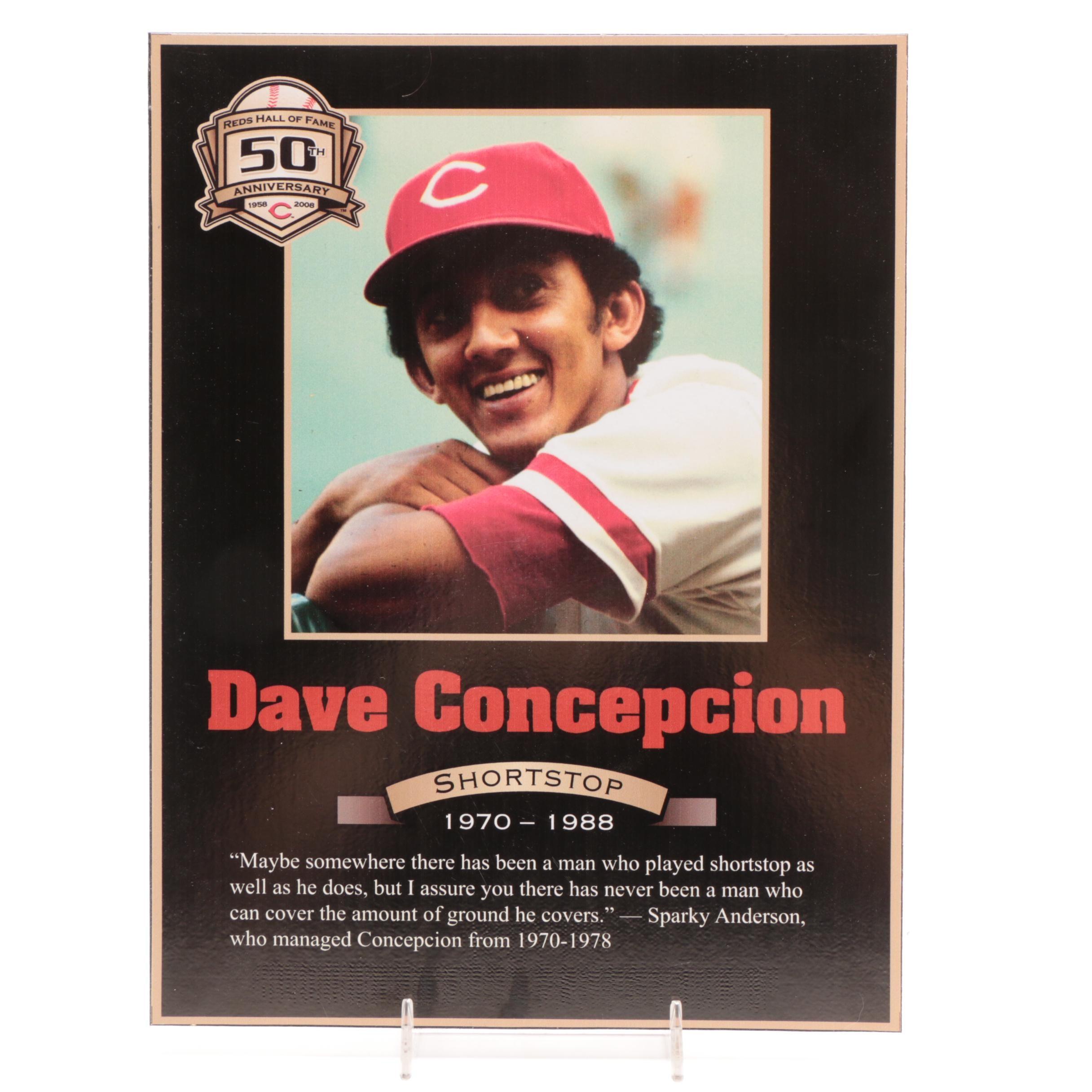 Dave Concepcion Cincinnati Reds Hall of Fame Photo Plaque COA