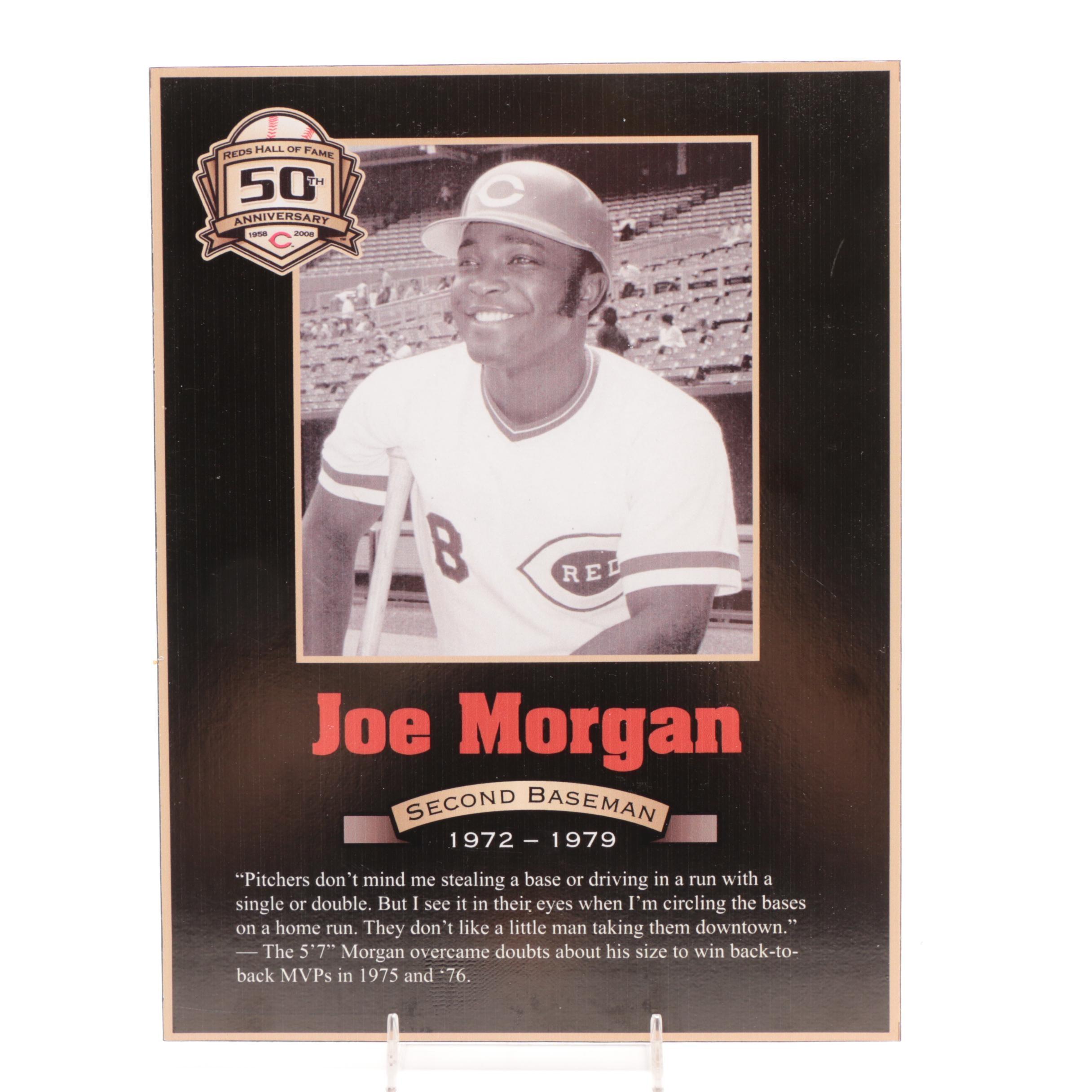 Joe Morgan Cincinnati Reds Hall of Fame Photo Plaque COA
